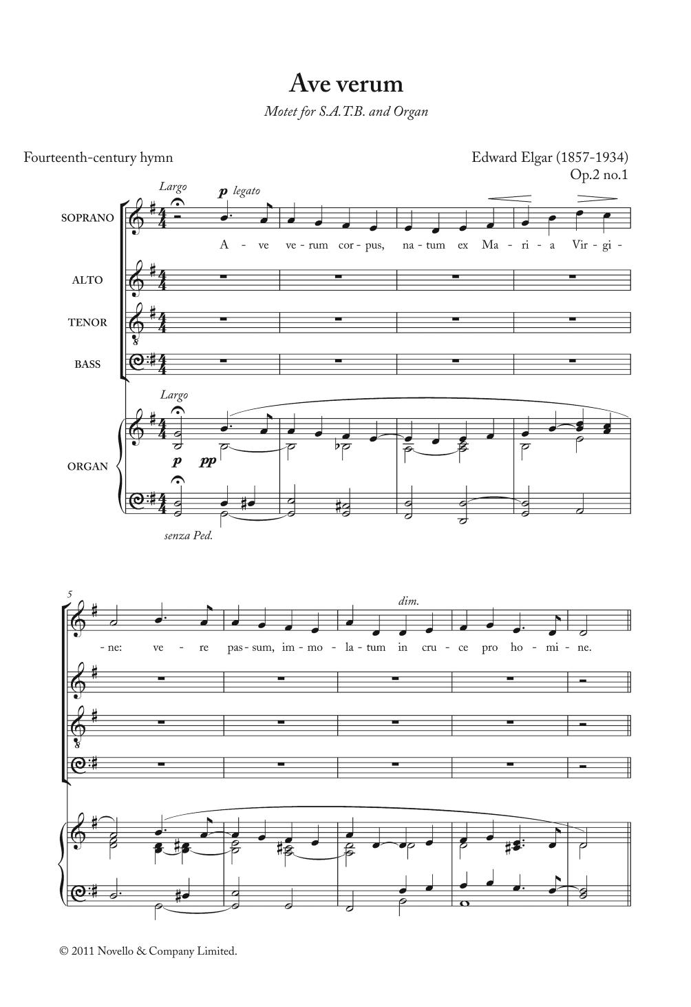 Ave Verum Corpus Op. 2, No. 1 Sheet Music