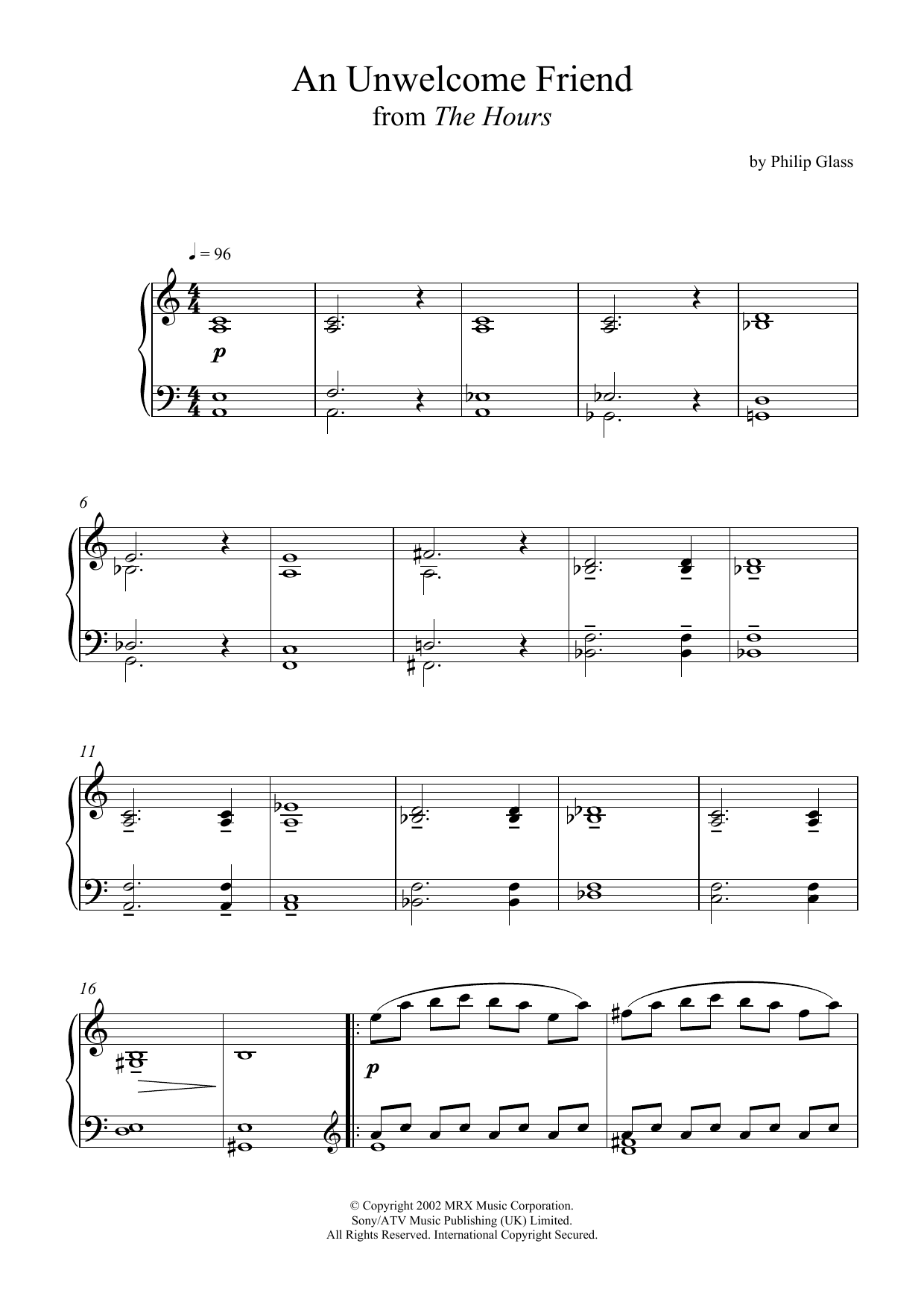 An Unwelcome Friend (from 'The Hours') Sheet Music