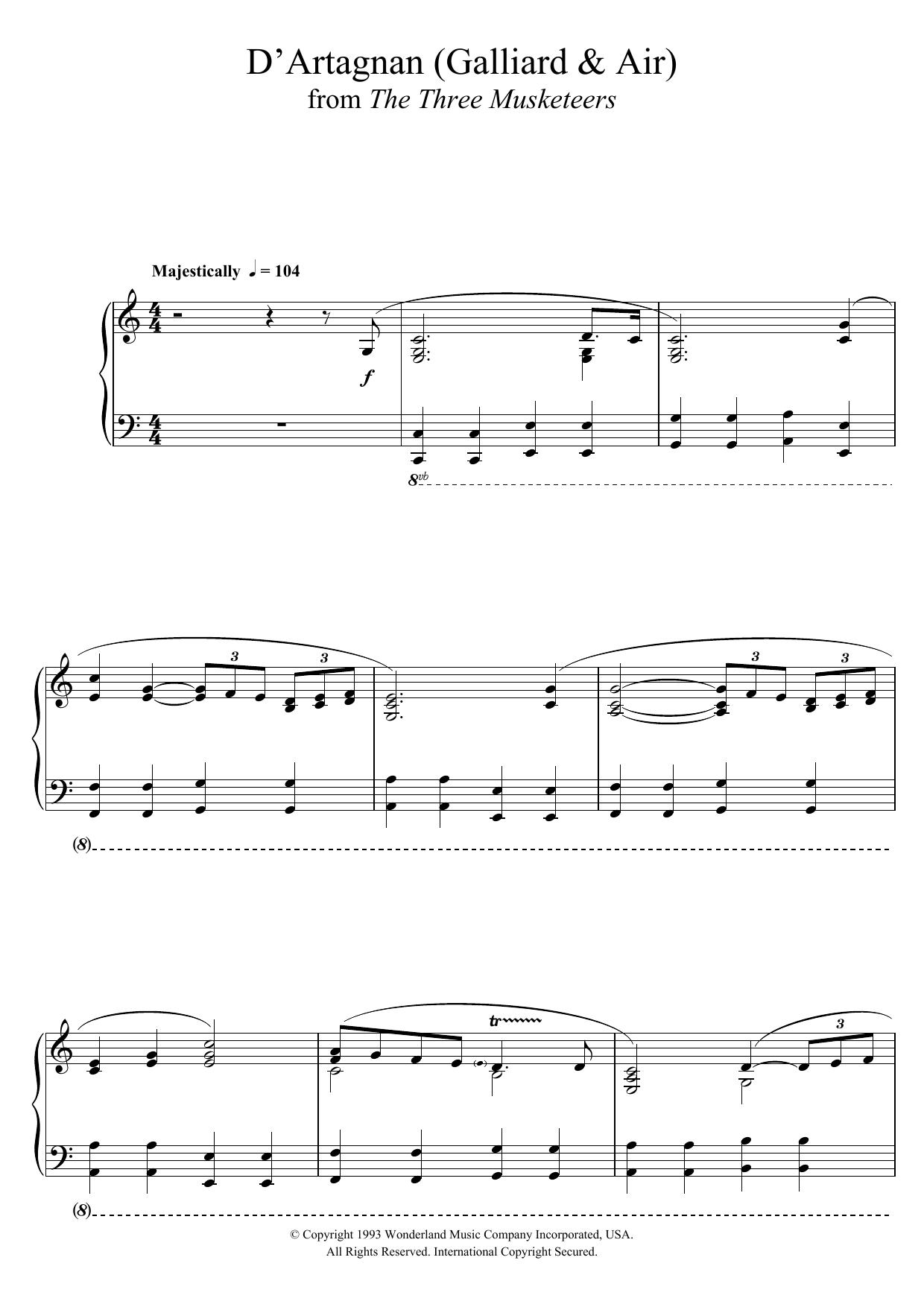 The Three Musketeers (D'Artagnan (Galliard and Air)) Sheet Music