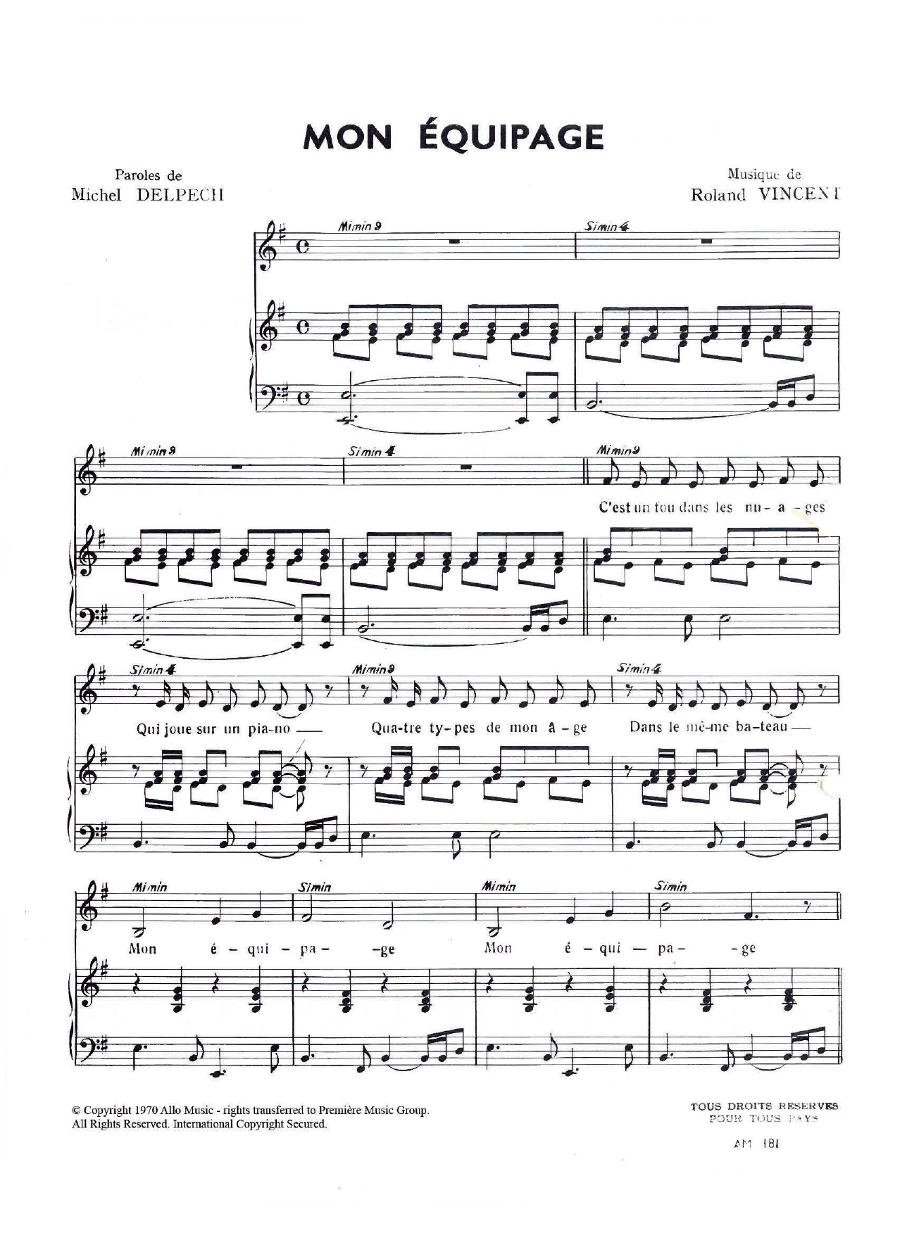 Mon Equipage Sheet Music