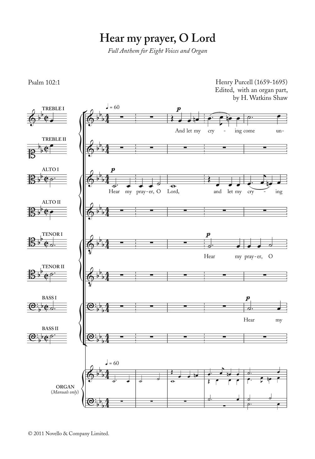 Hear My Prayer, O Lord Sheet Music