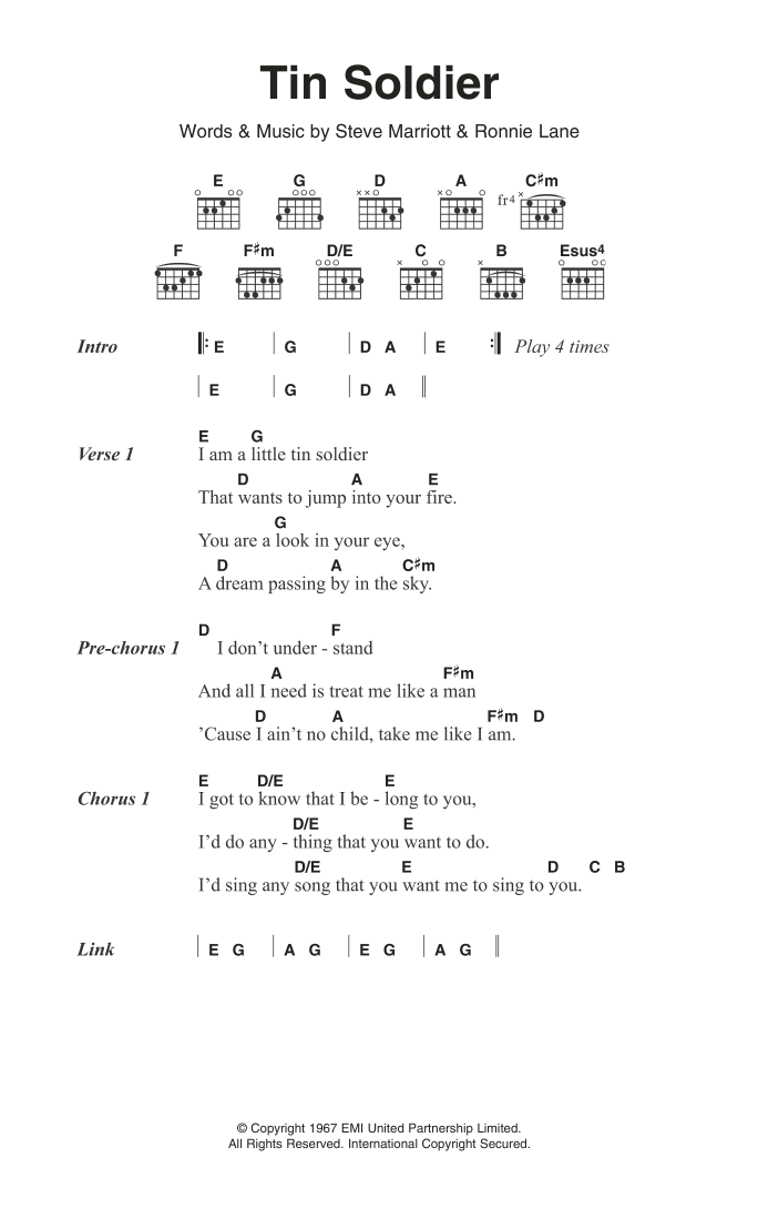 Tin Soldier By Small Faces Guitar Chordslyrics Guitar Instructor