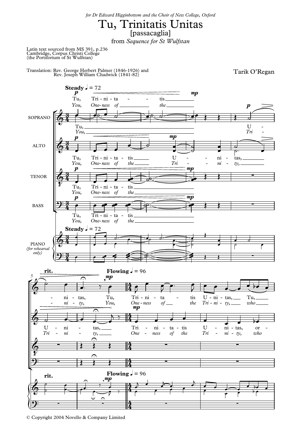 Tu Trinitatis Unitas (From Sequence For St Wulfstan) Sheet Music