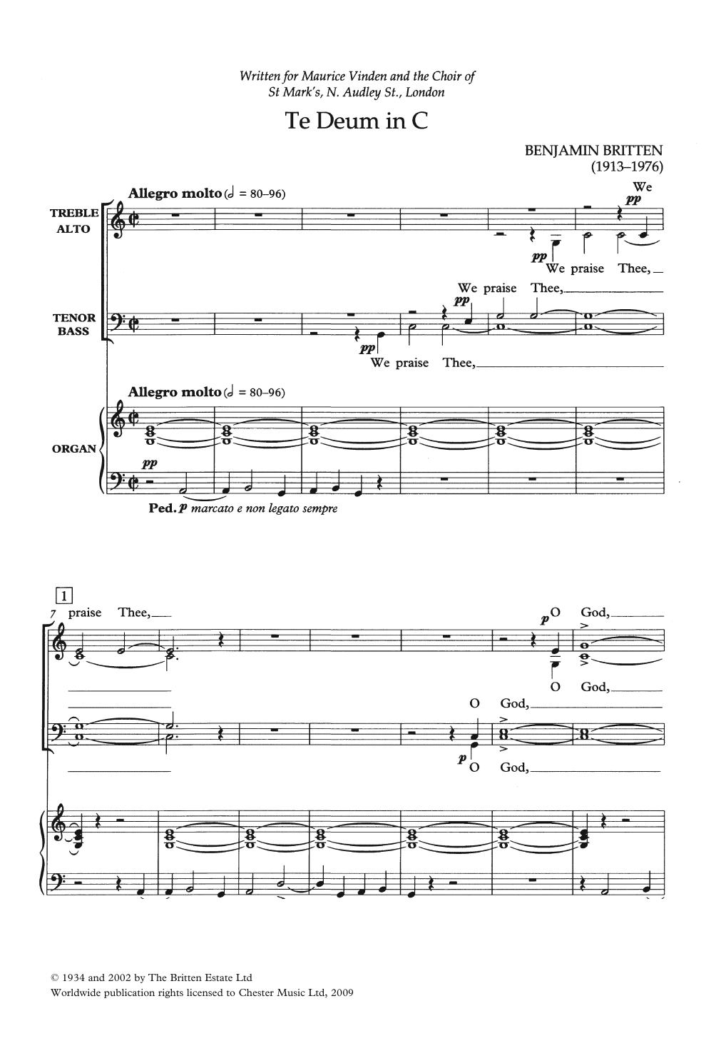 Te Deum In C Sheet Music
