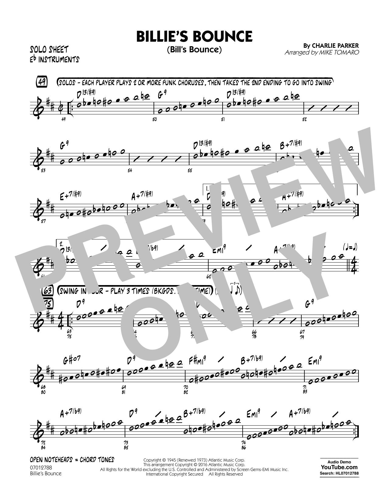 Billie's Bounce - Eb Solo Sheet (Jazz Ensemble)