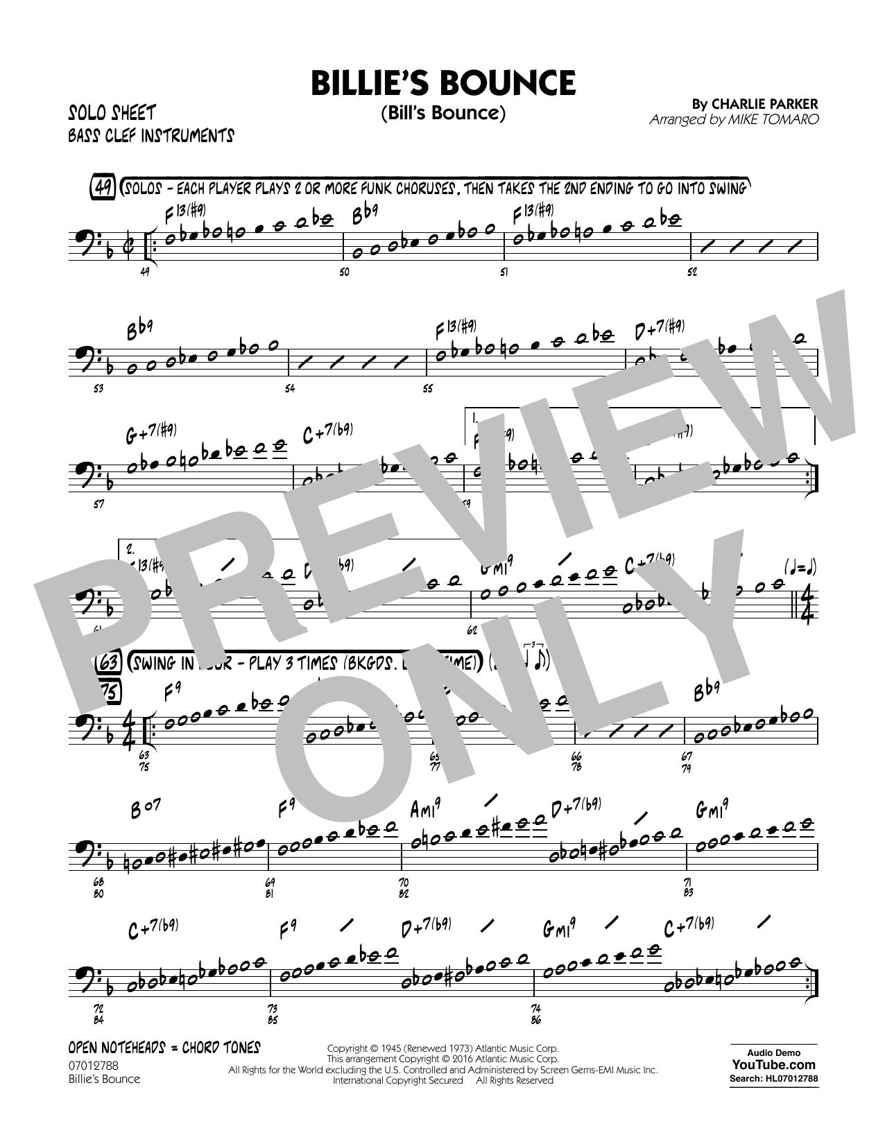 Billie's Bounce - Bass Clef Solo Sheet (Jazz Ensemble)