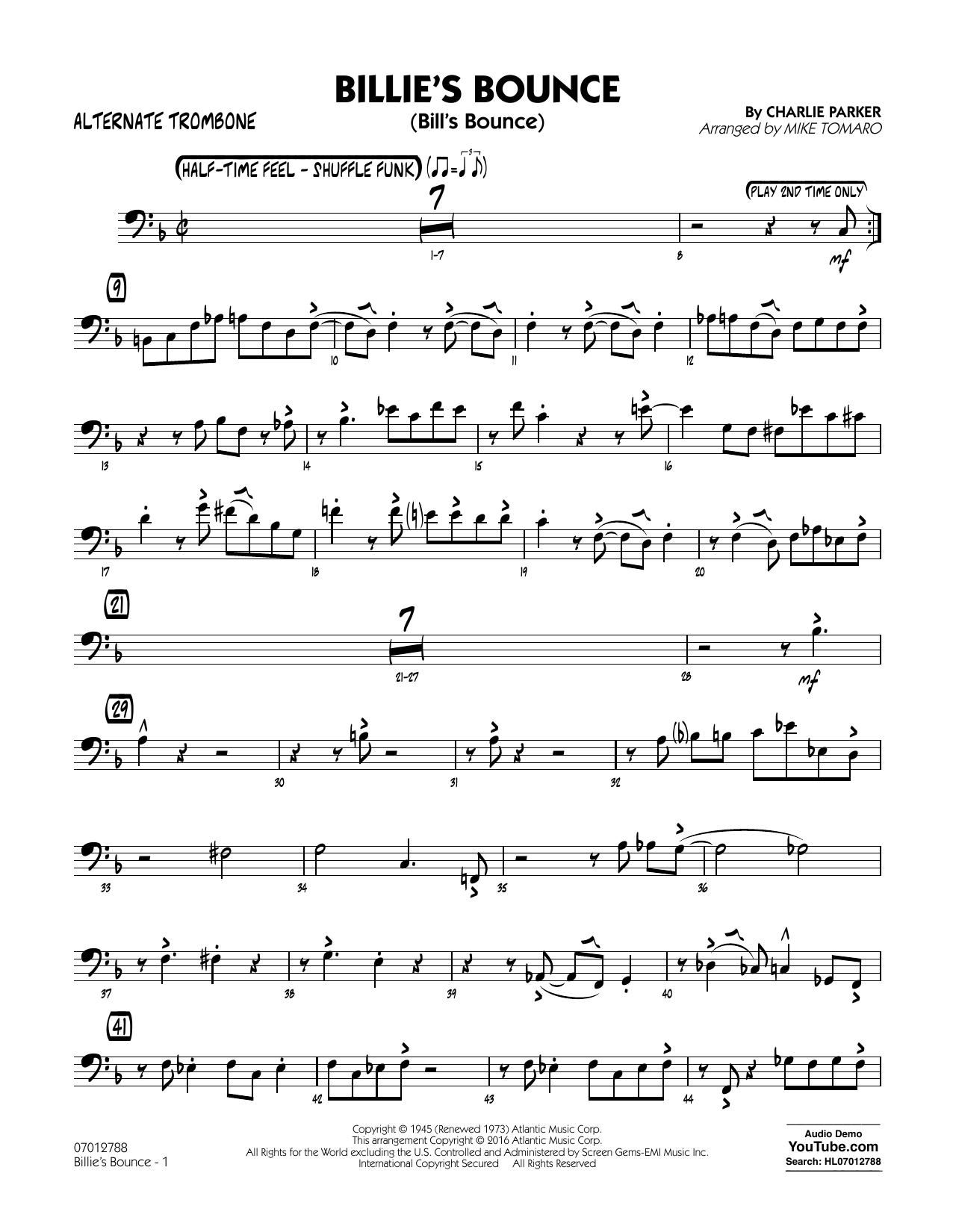 Billie's Bounce - Alternate Trombone (Jazz Ensemble)