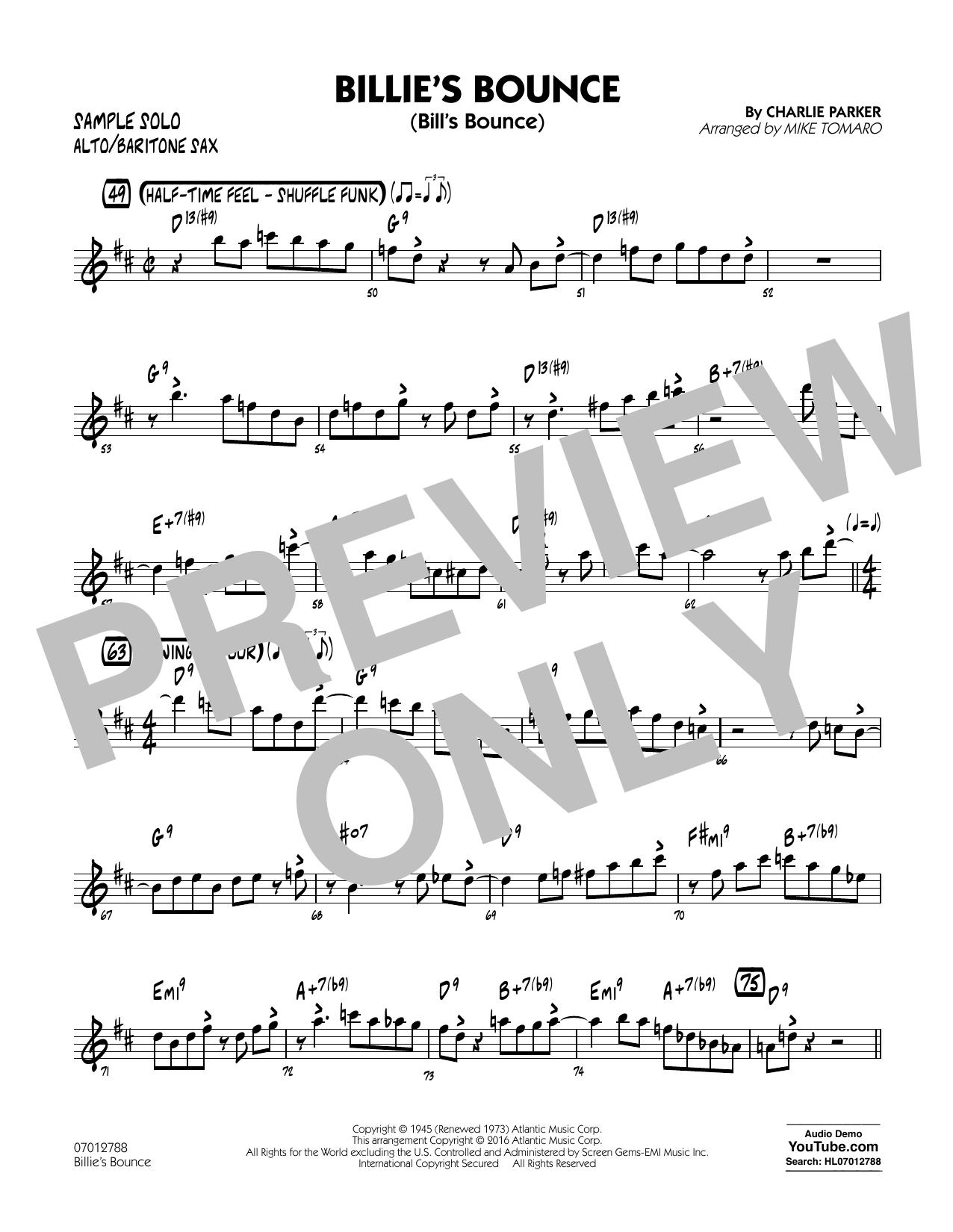 Billie's Bounce - Alto Sax/Bari Sax Sample Solo (Jazz Ensemble)