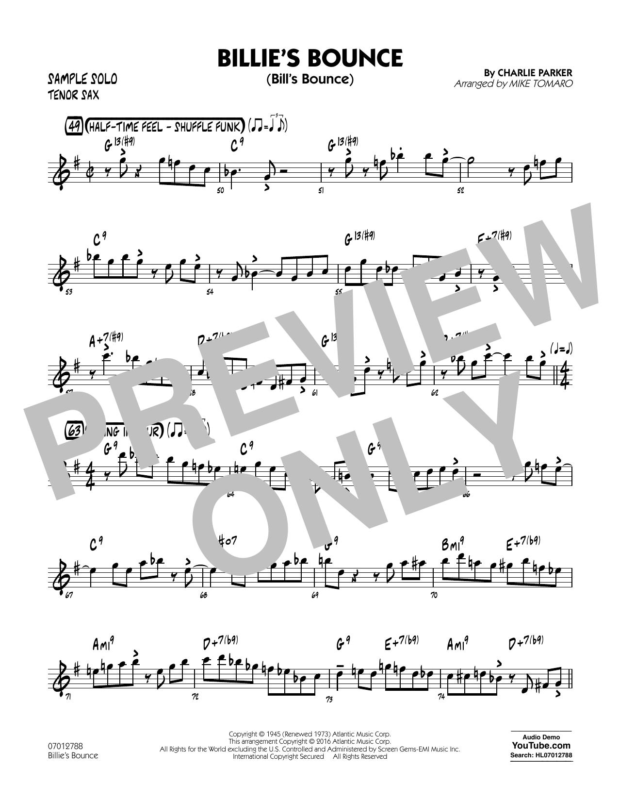 Billie's Bounce - Tenor Sax Sample Solo (Jazz Ensemble)