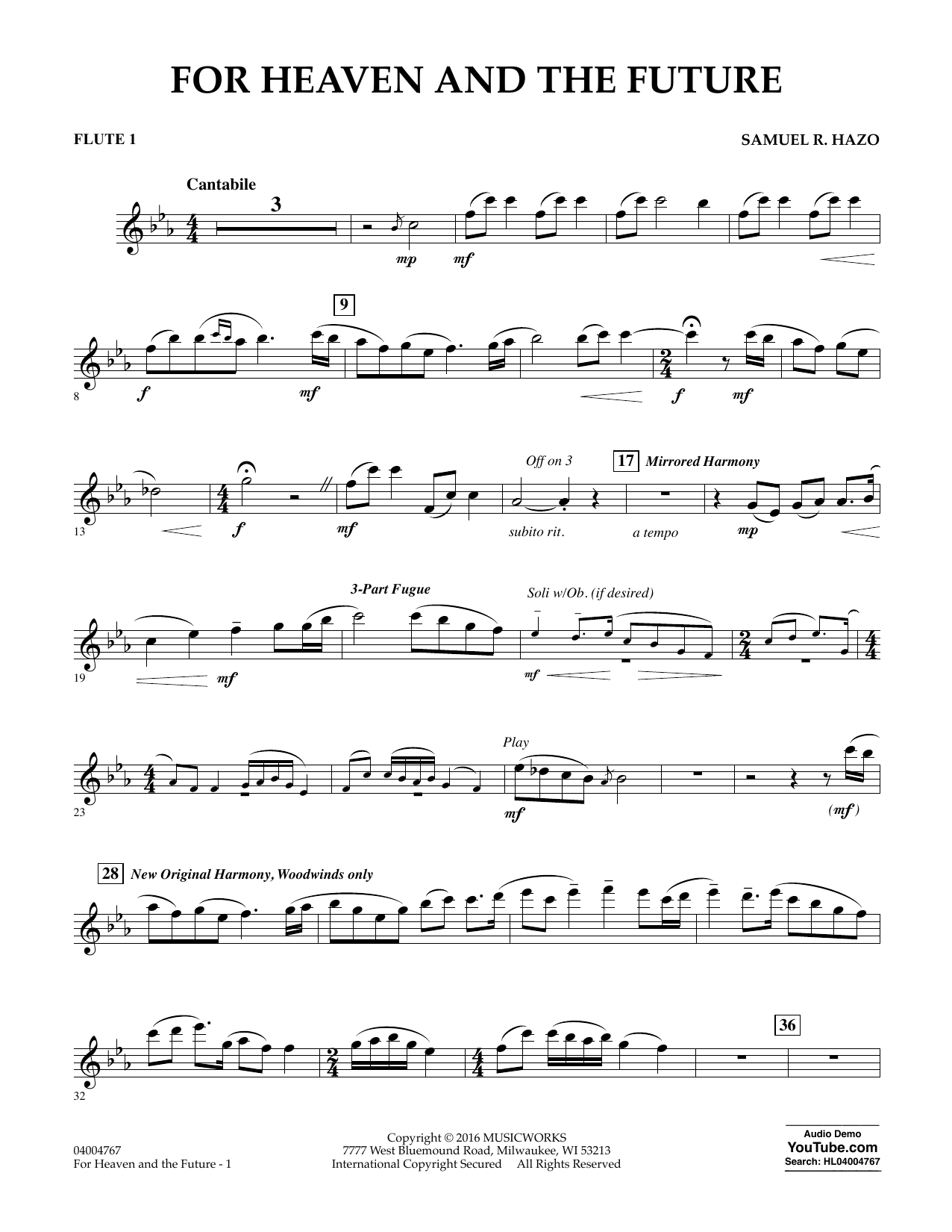 For Heaven and the Future - Flute 1 (Concert Band)