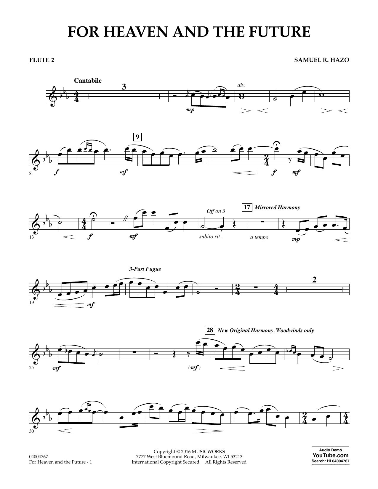 For Heaven and the Future - Flute 2 (Concert Band)