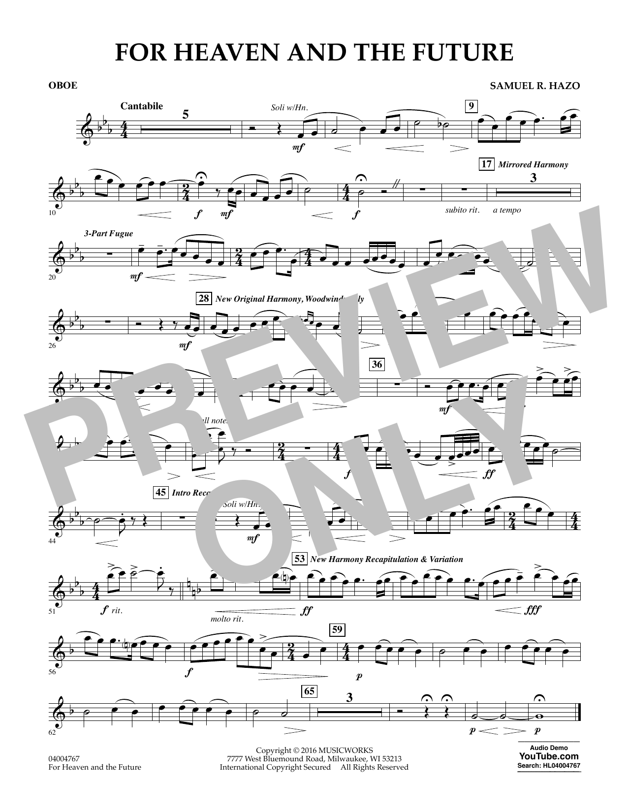 For Heaven and the Future - Oboe (Concert Band)