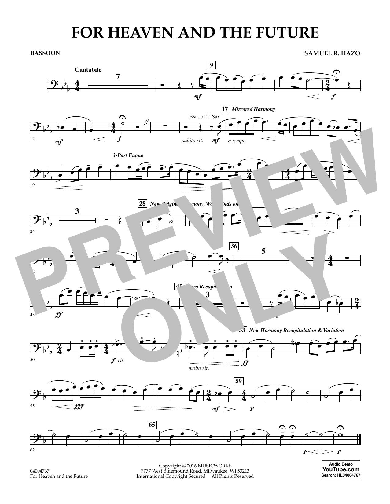 For Heaven and the Future - Bassoon (Concert Band)