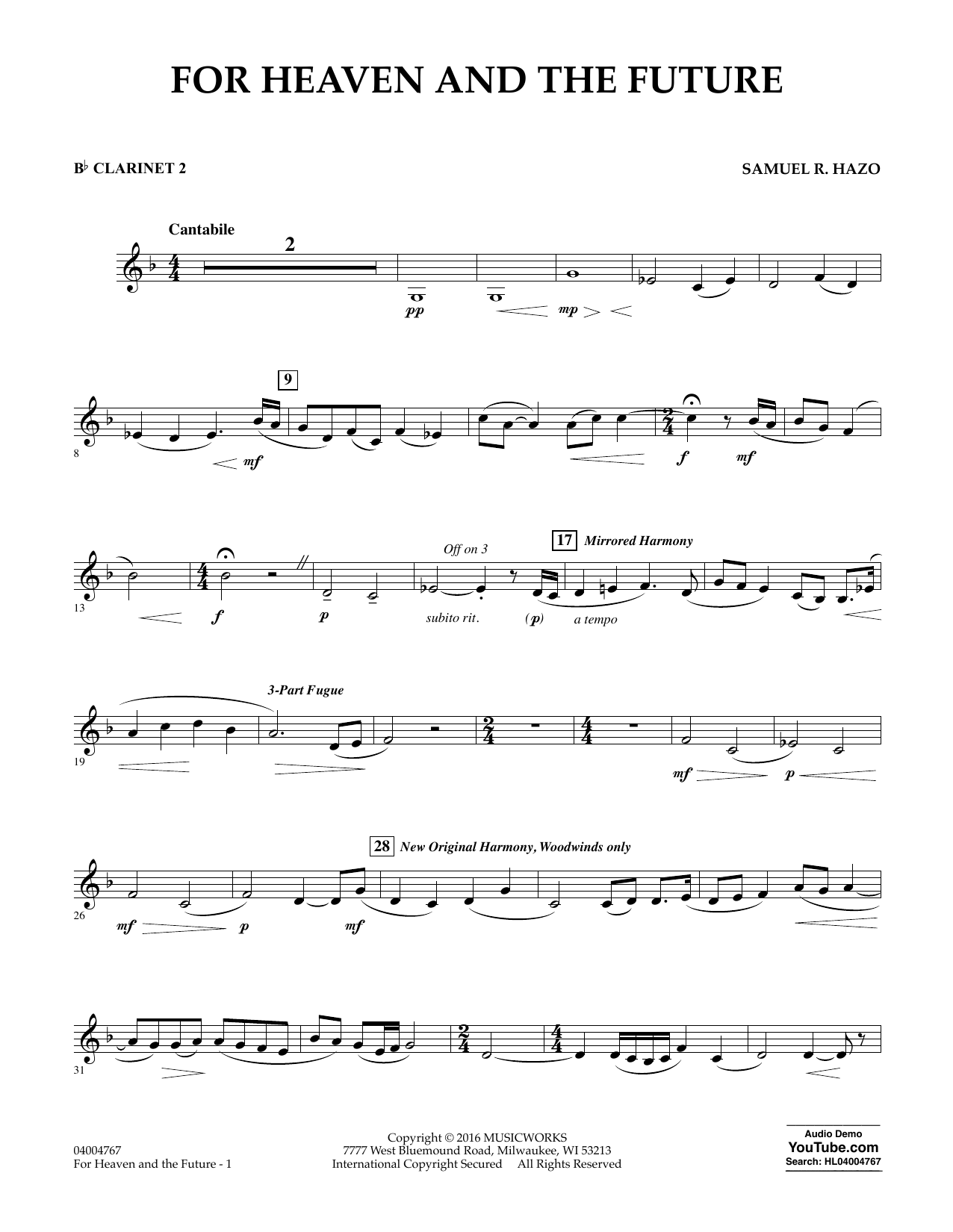 For Heaven and the Future - Bb Clarinet 2 (Concert Band)