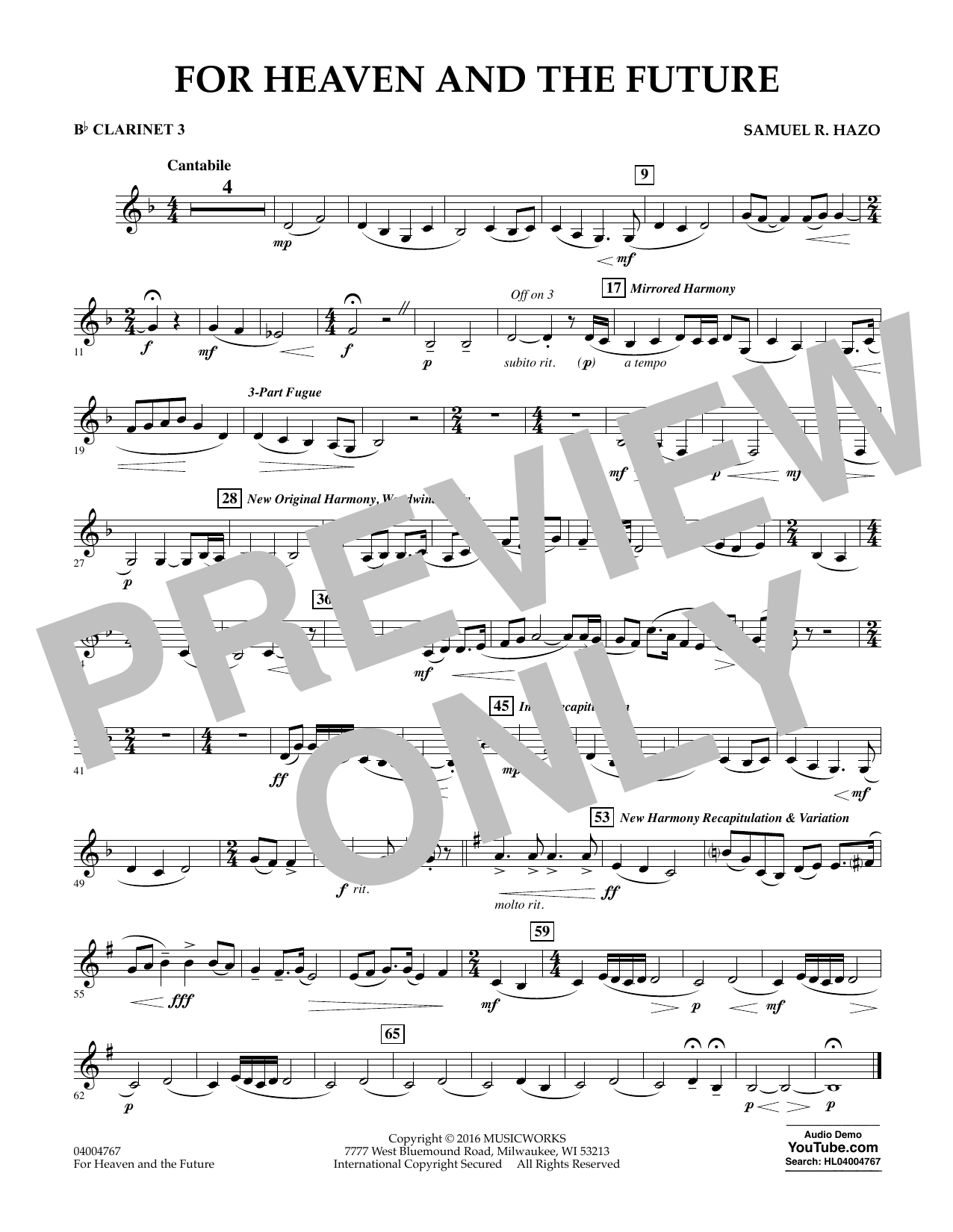 For Heaven and the Future - Bb Clarinet 3 (Concert Band)