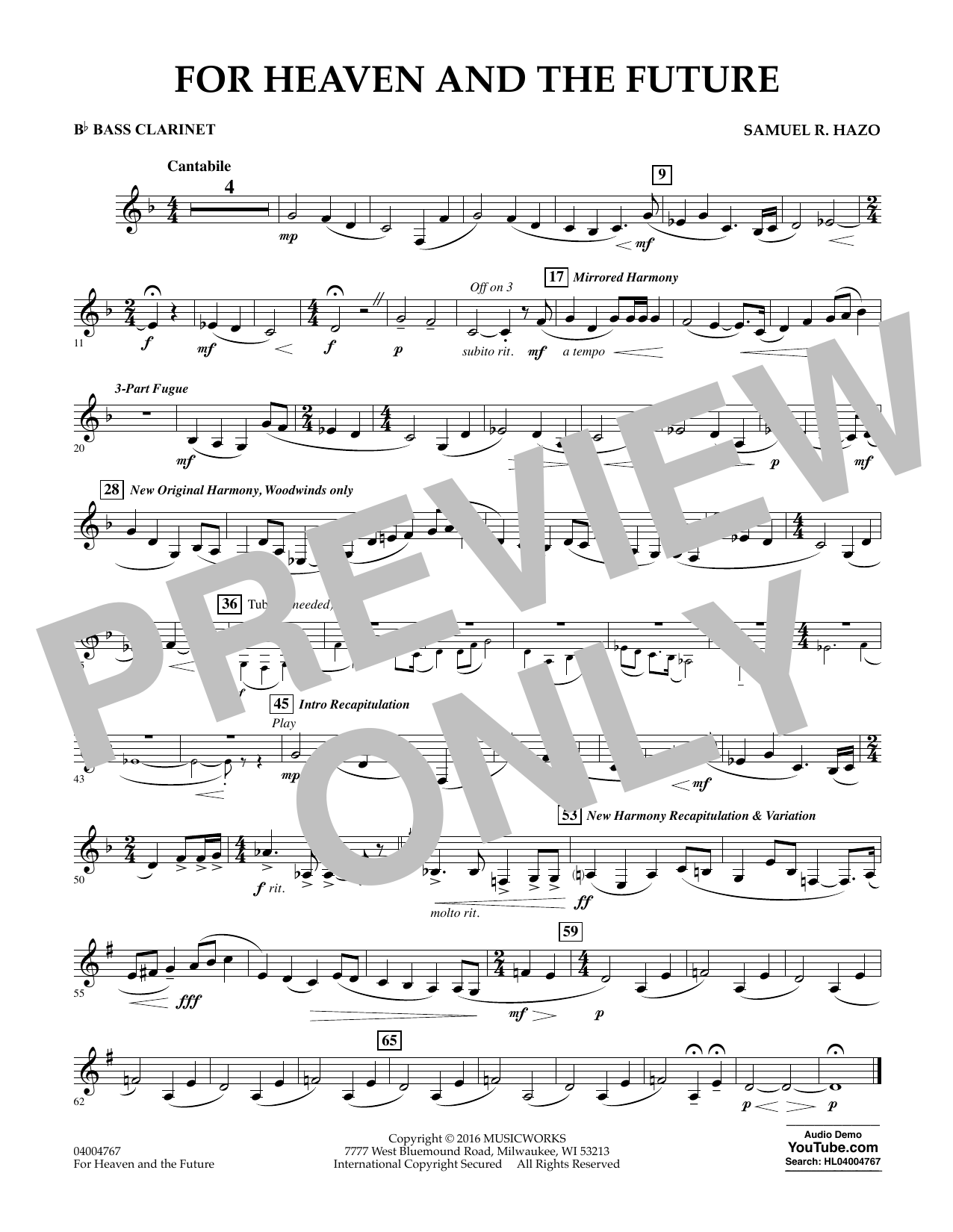 For Heaven and the Future - Bb Bass Clarinet (Concert Band)