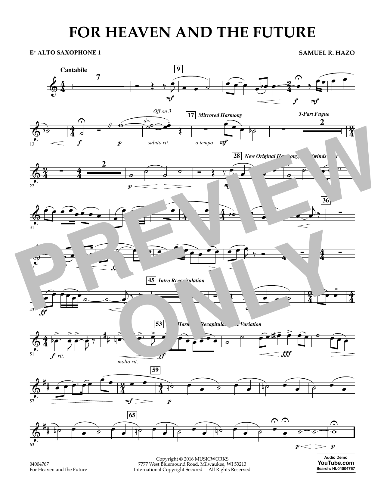 For Heaven and the Future - Eb Alto Saxophone 1 (Concert Band)