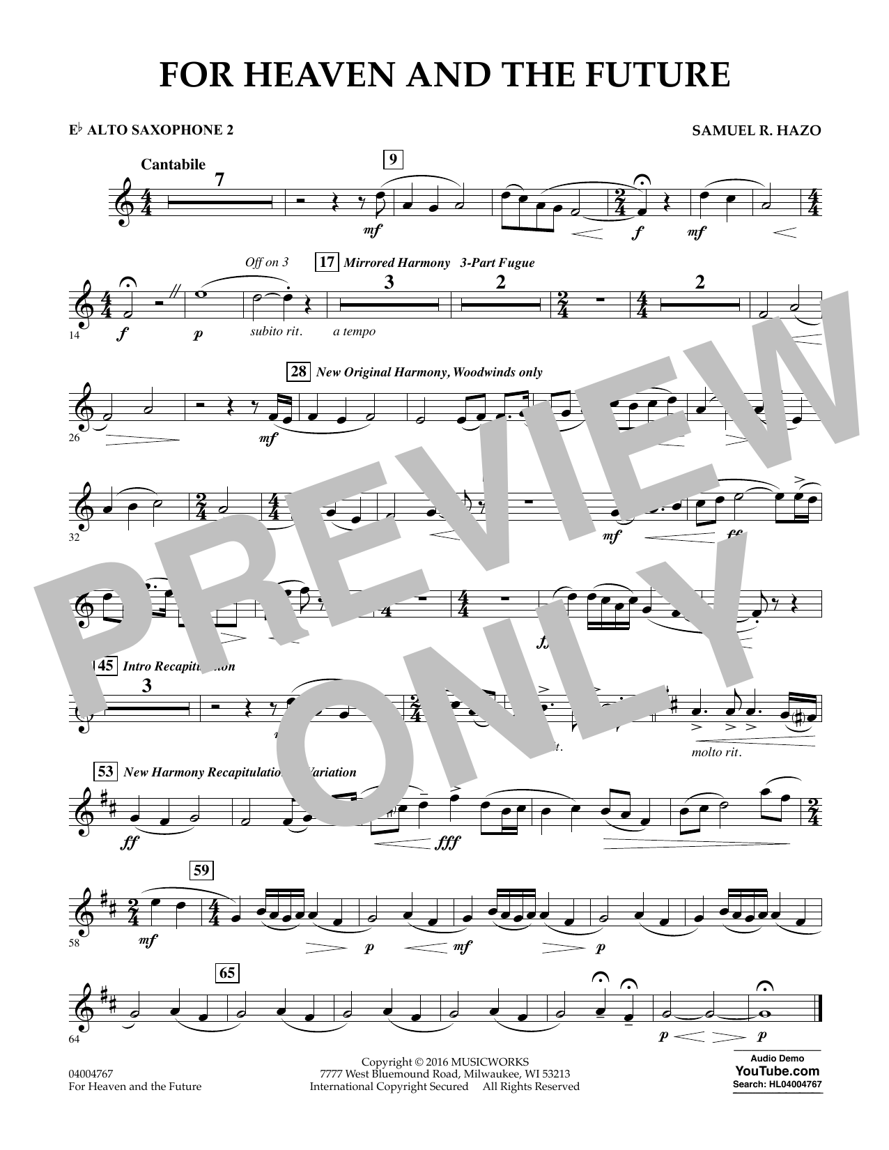 For Heaven and the Future - Eb Alto Saxophone 2 (Concert Band)