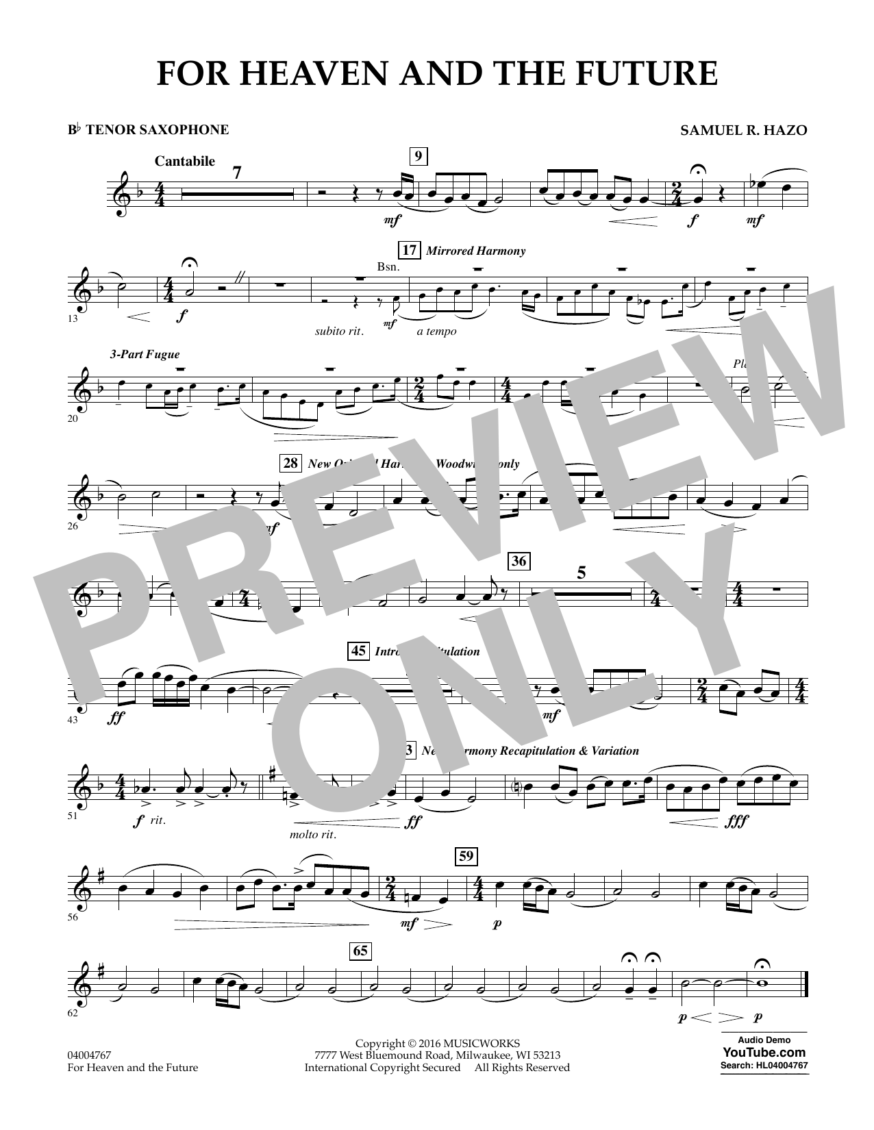For Heaven and the Future - Bb Tenor Saxophone (Concert Band)