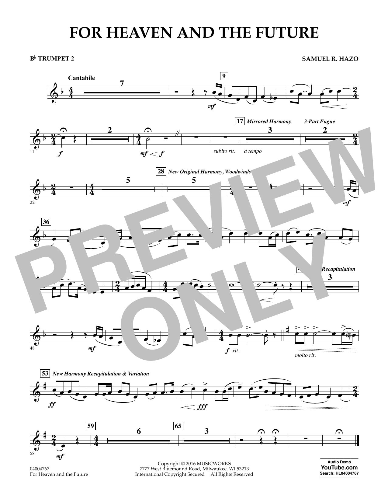 For Heaven and the Future - Bb Trumpet 2 (Concert Band)