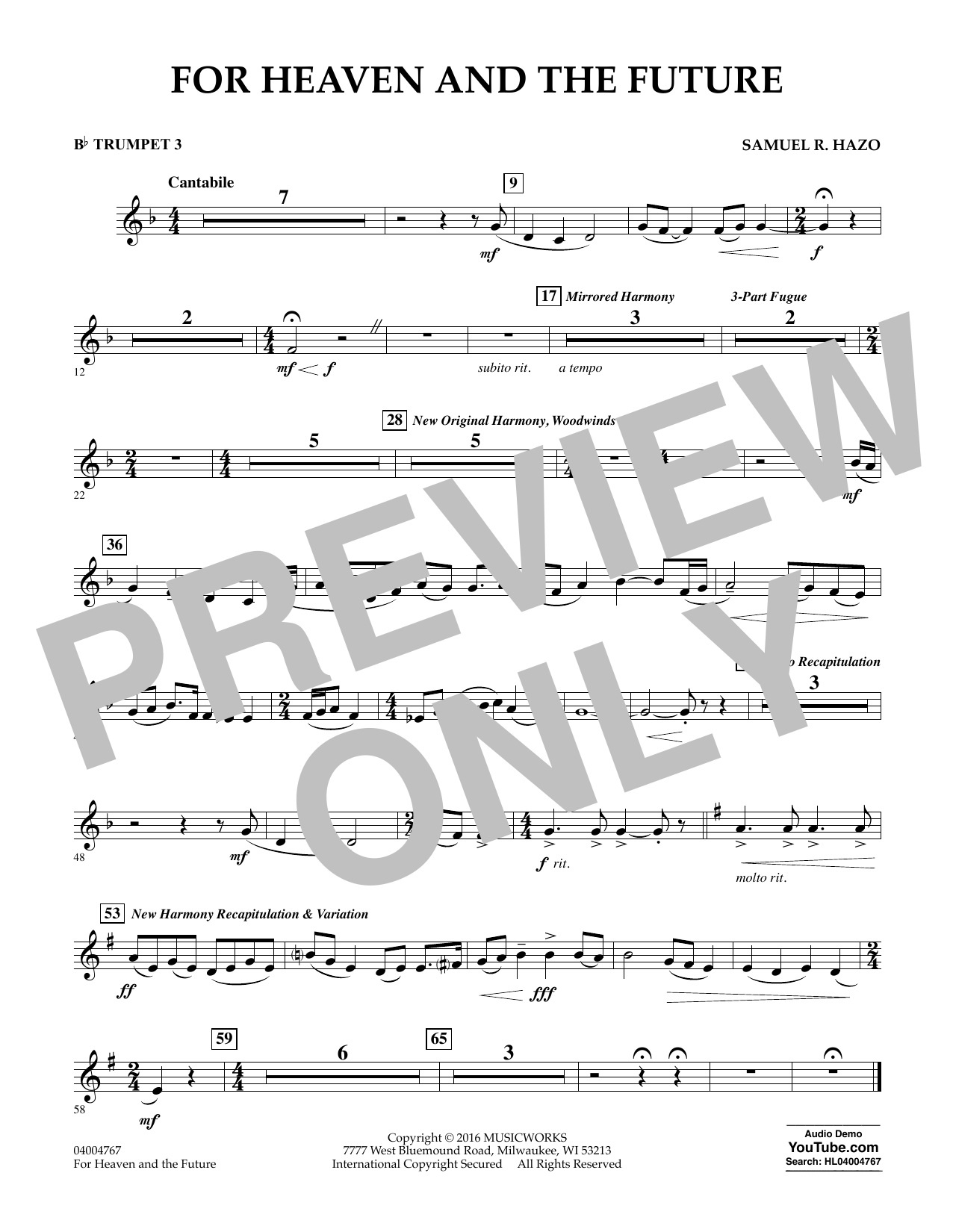For Heaven and the Future - Bb Trumpet 3 (Concert Band)