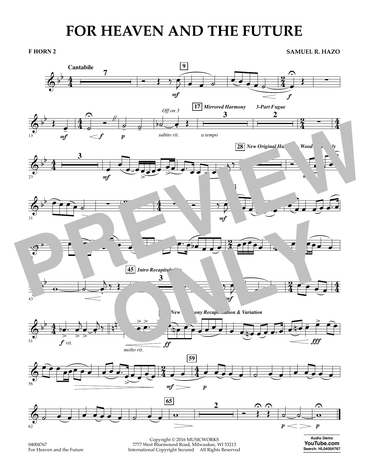 For Heaven and the Future - F Horn 2 (Concert Band)
