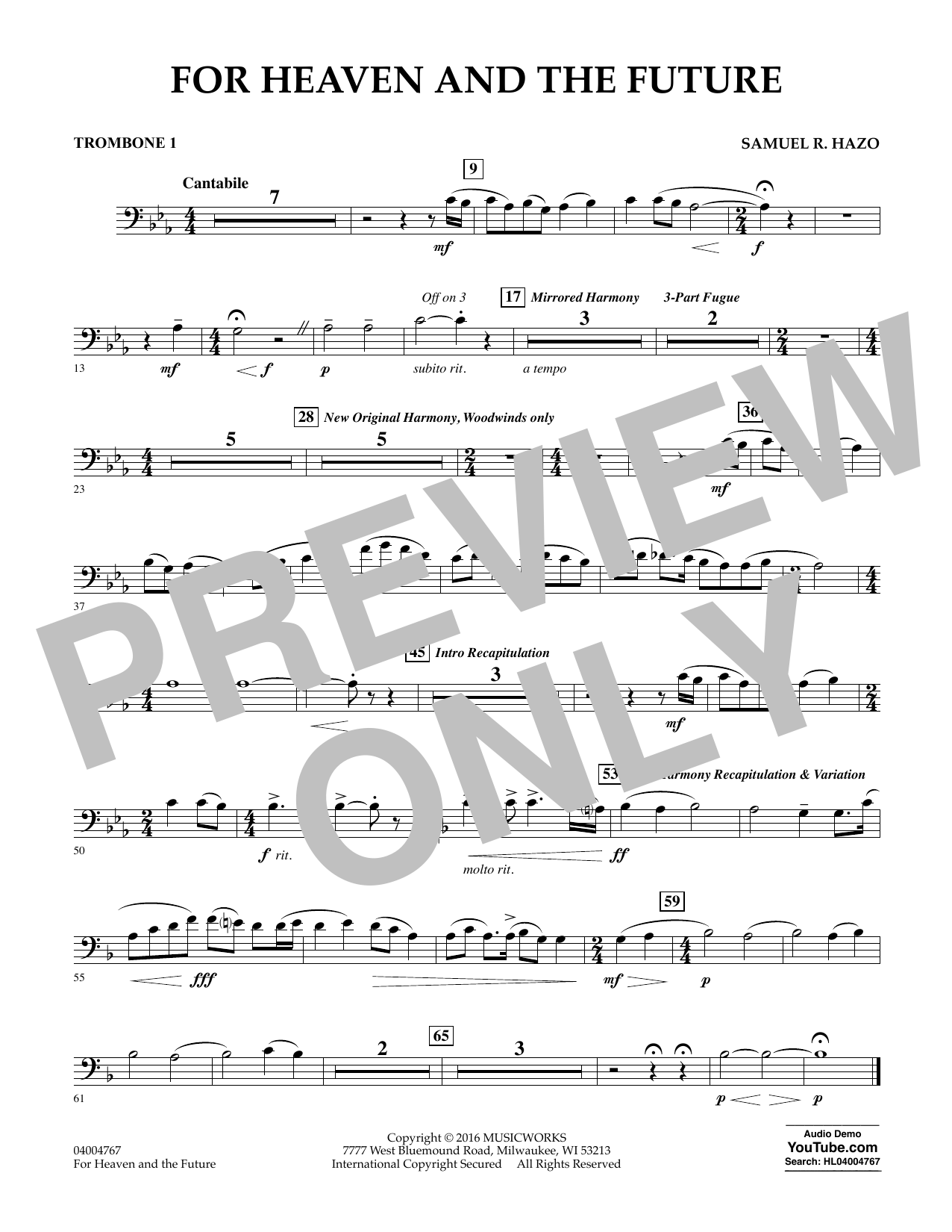 For Heaven and the Future - Trombone 1 (Concert Band)