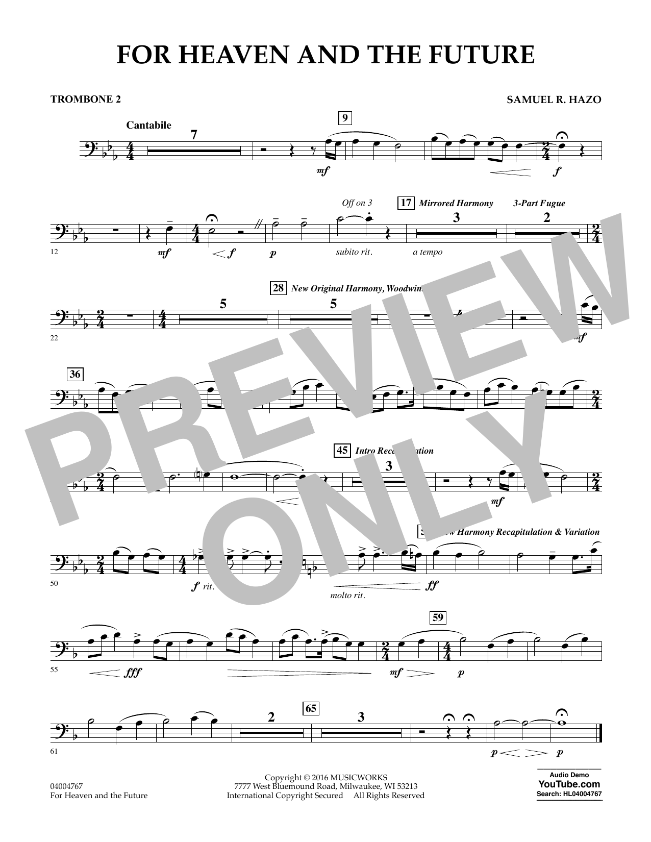 For Heaven and the Future - Trombone 2 (Concert Band)