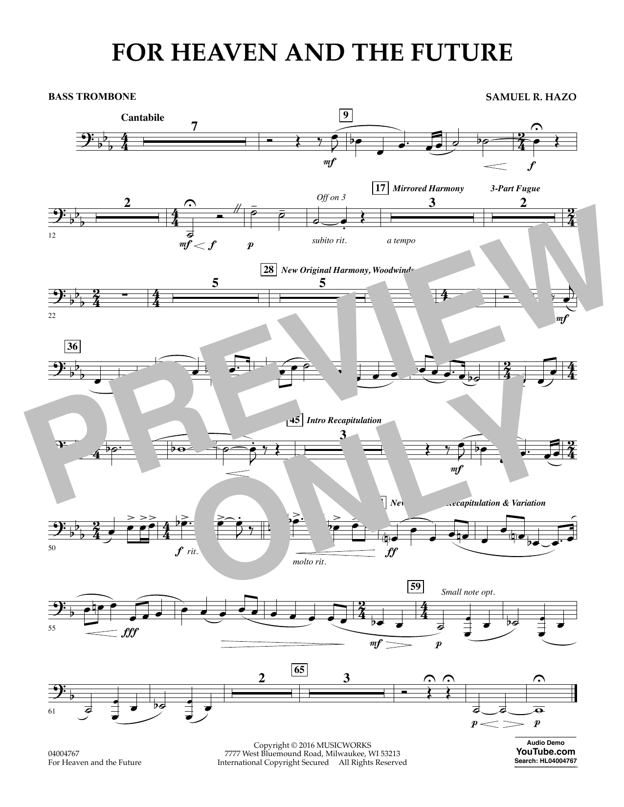 For Heaven and the Future - Bass Trombone (Concert Band)