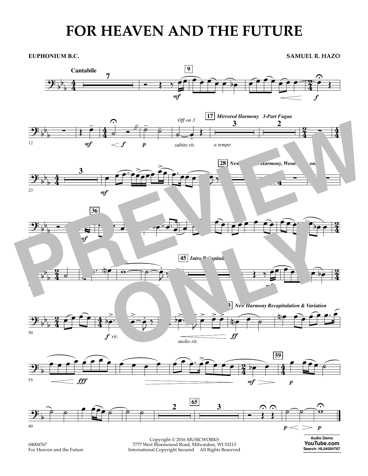 For Heaven and the Future - Euphonium in Bass Clef (Concert Band)