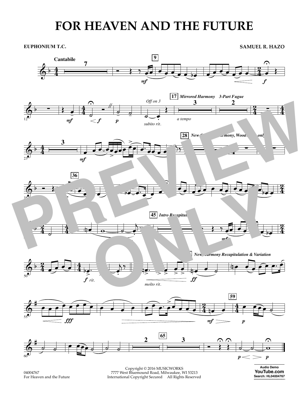 For Heaven and the Future - Euphonium in Treble Clef (Concert Band)