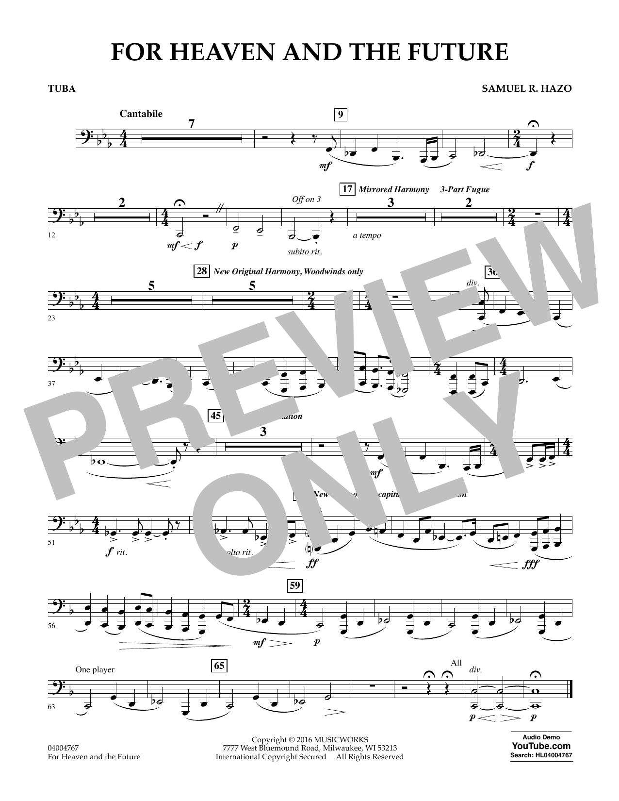 For Heaven and the Future - Tuba (Concert Band)