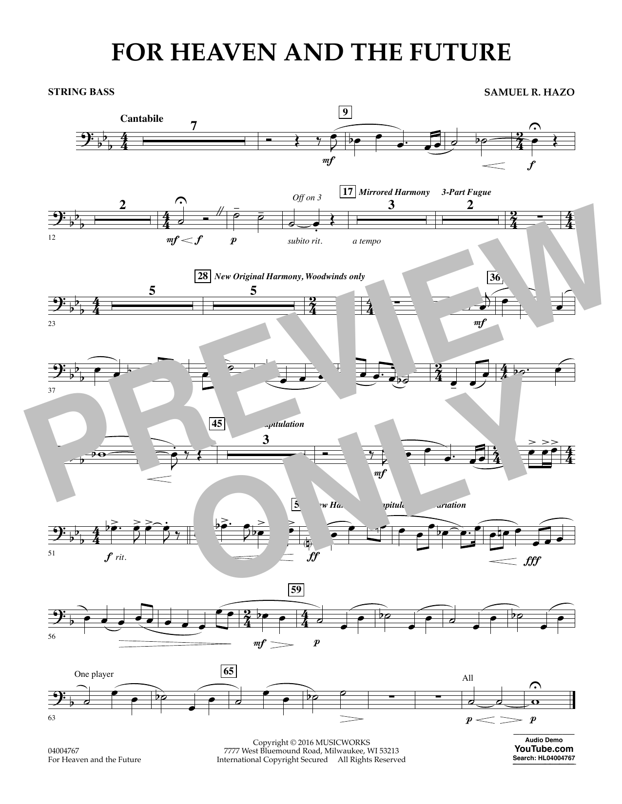 For Heaven and the Future - String Bass (Concert Band)
