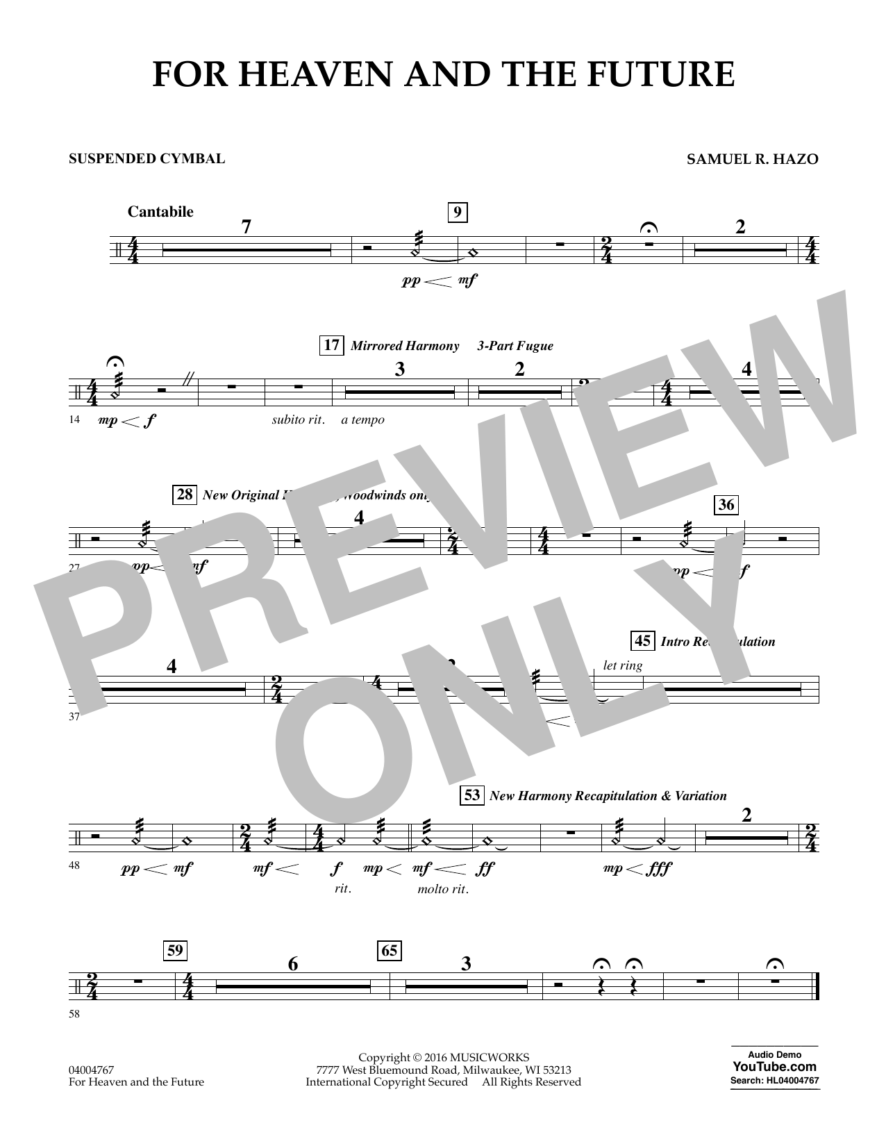For Heaven and the Future - Suspended Cymbal (Concert Band)