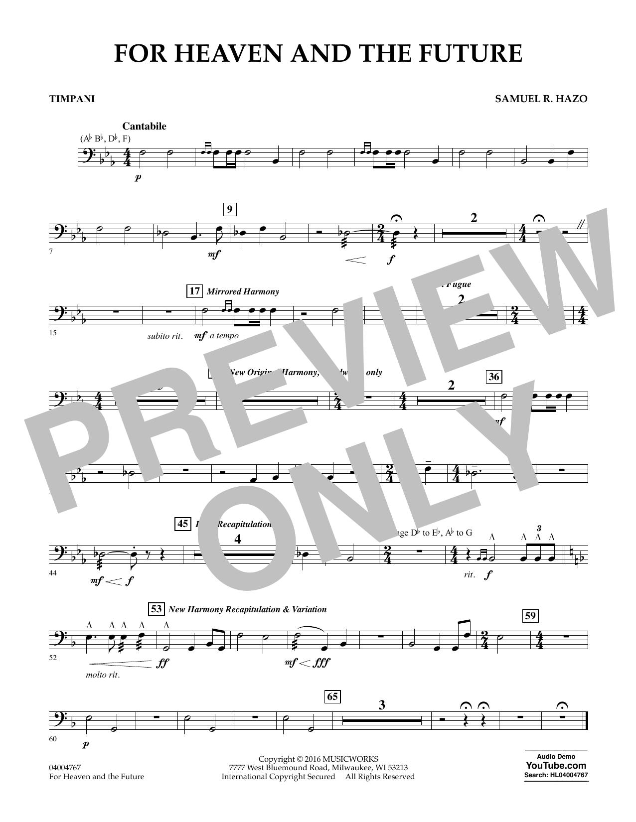 For Heaven and the Future - Timpani (Concert Band)
