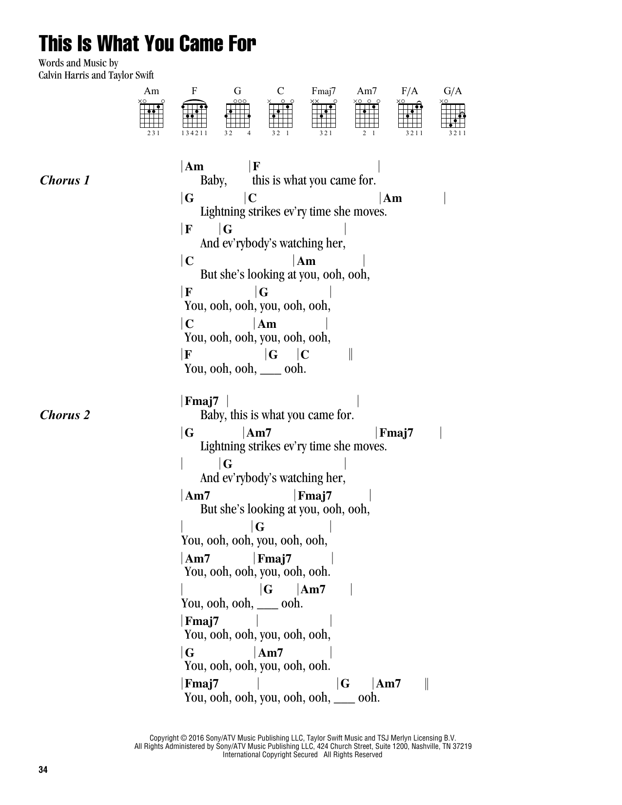 This Is What You Came For (feat. Rihanna) (Guitar Chords/Lyrics)
