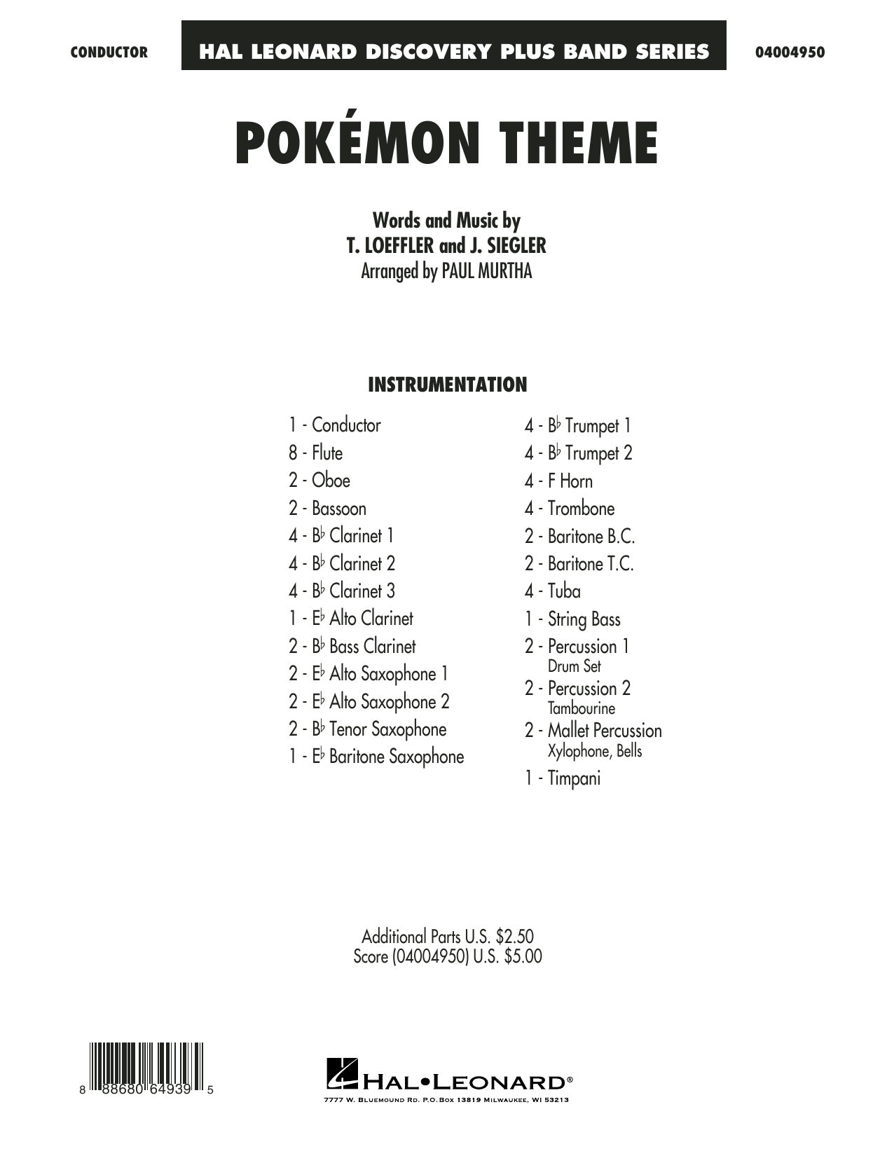 Pokemon Theme (COMPLETE) sheet music for concert band by Paul Murtha and J. Siegler. Score Image Preview.