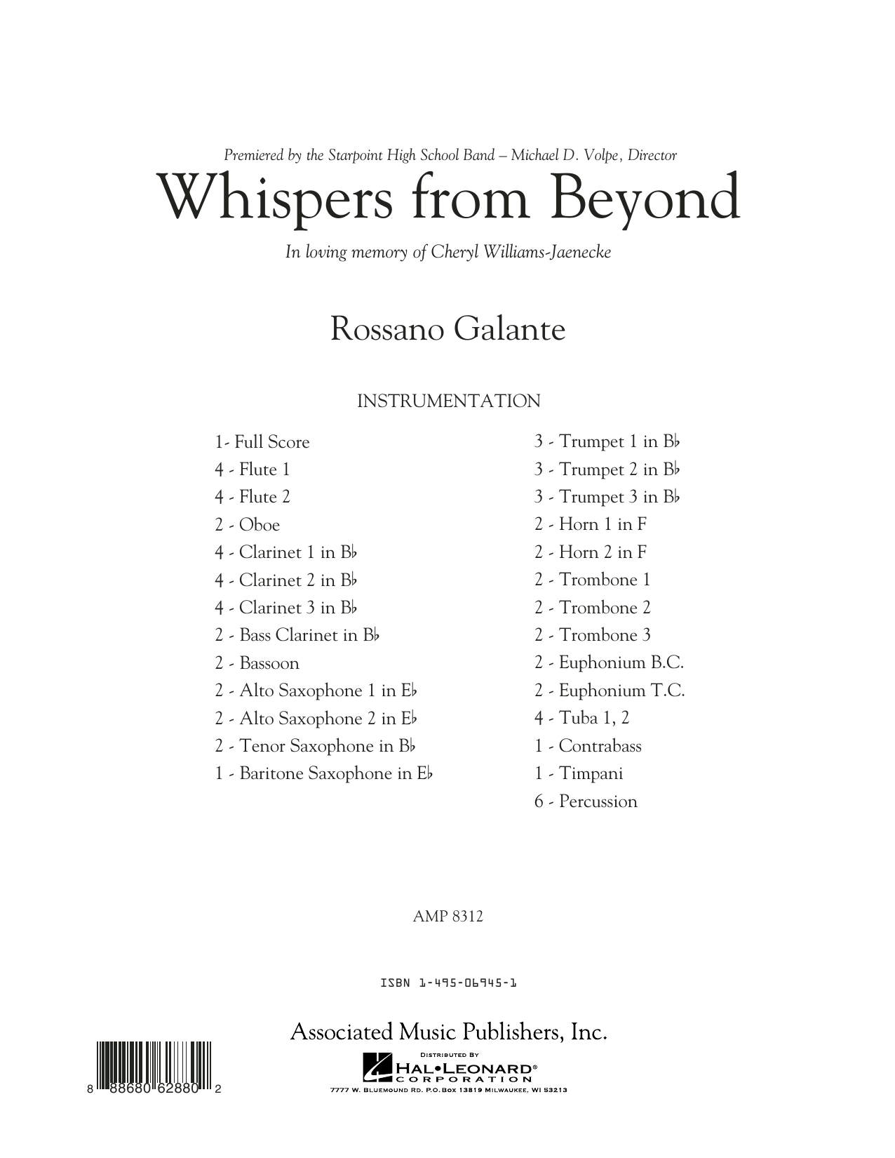 Whispers from Beyond - Conductor Score (Full Score) (Concert Band)