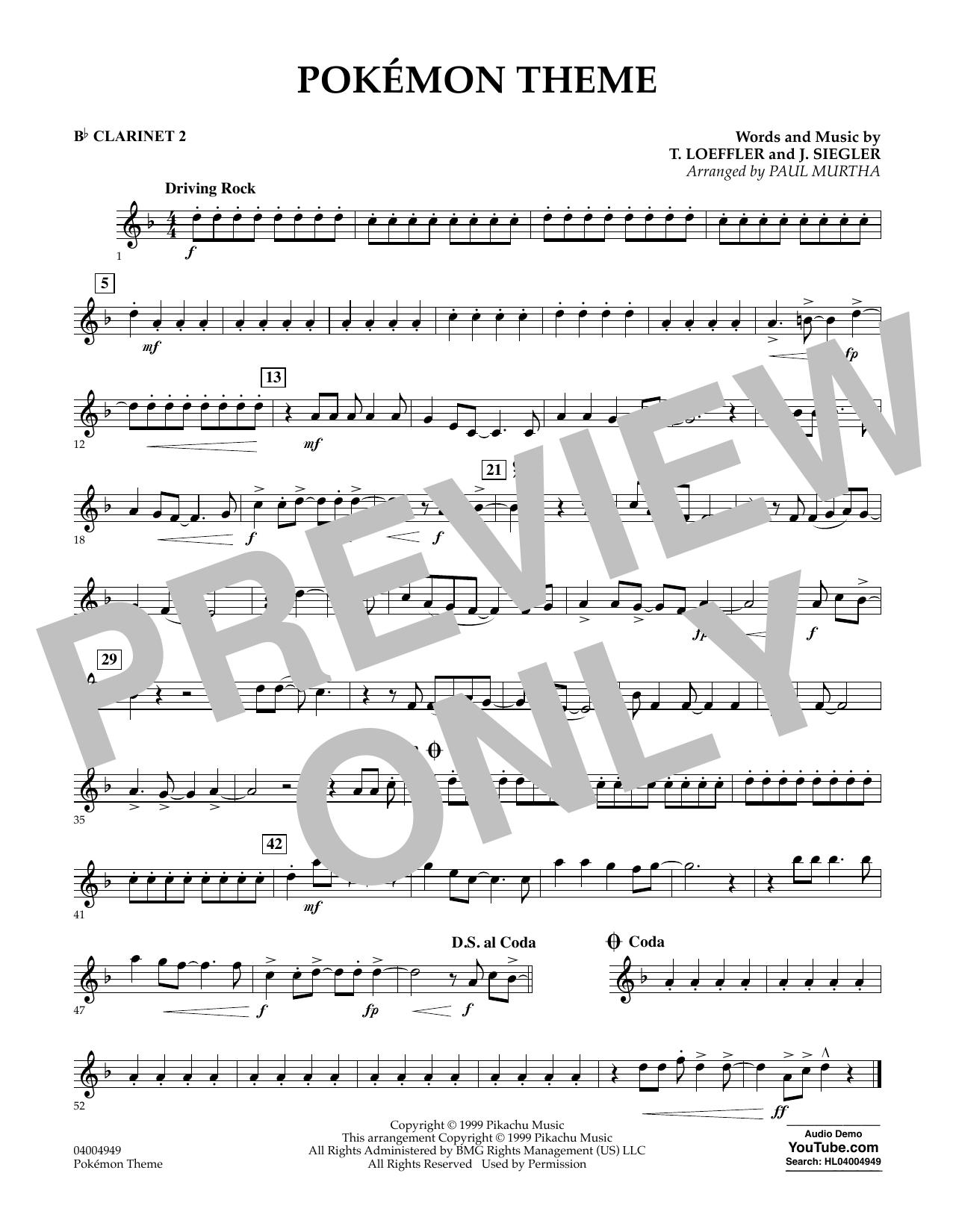 Pokemon Theme - Bb Clarinet 2 Sheet Music