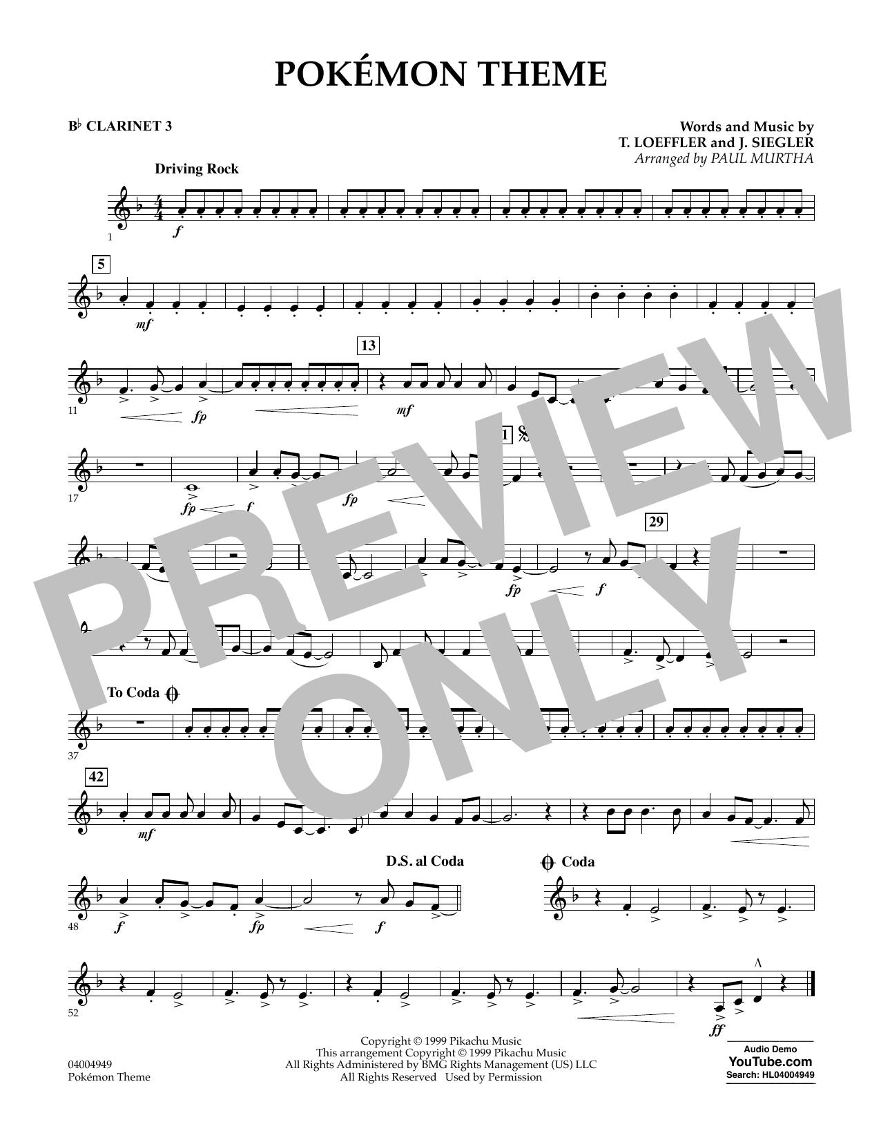 Pokemon Theme - Bb Clarinet 3 (Concert Band)