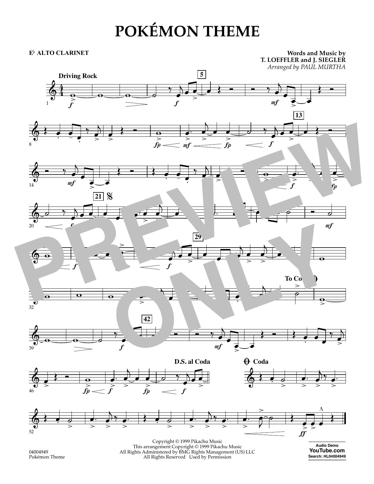 Pokemon Theme - Eb Alto Clarinet (Concert Band)