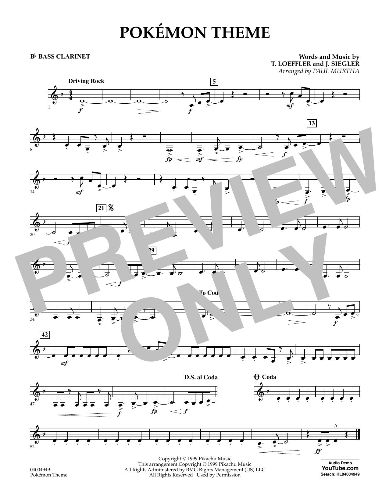 Pokemon Theme - Bb Bass Clarinet (Concert Band)