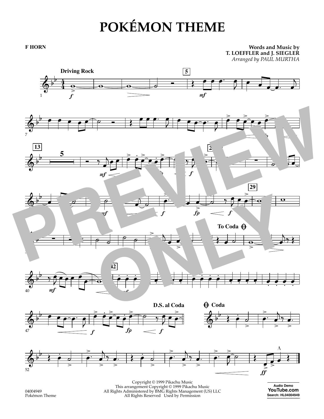 Pokemon Theme - F Horn (Concert Band)