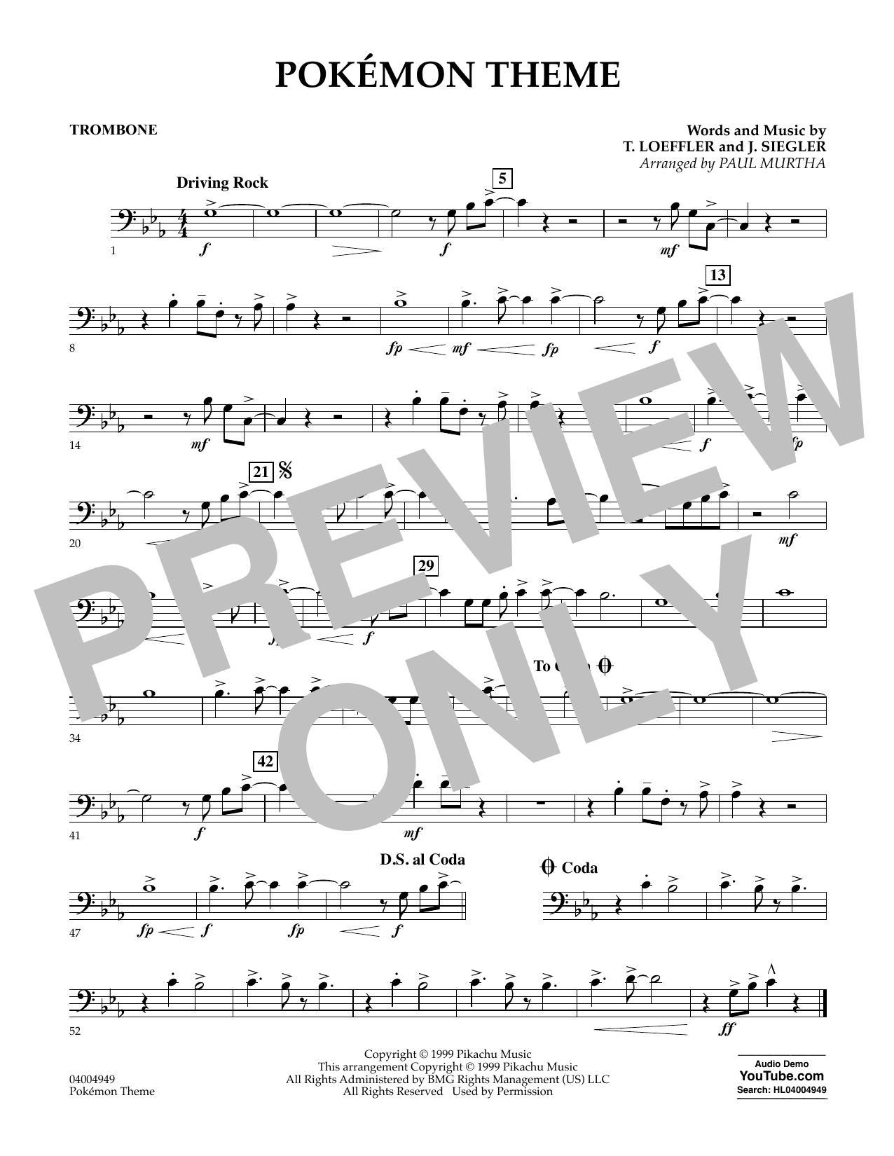 Pokemon Theme - Trombone (Concert Band)