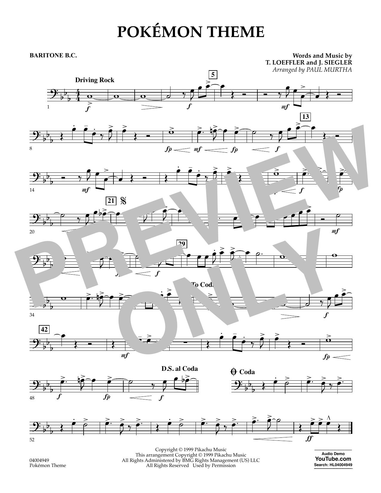 Pokemon Theme - Baritone B.C. Sheet Music