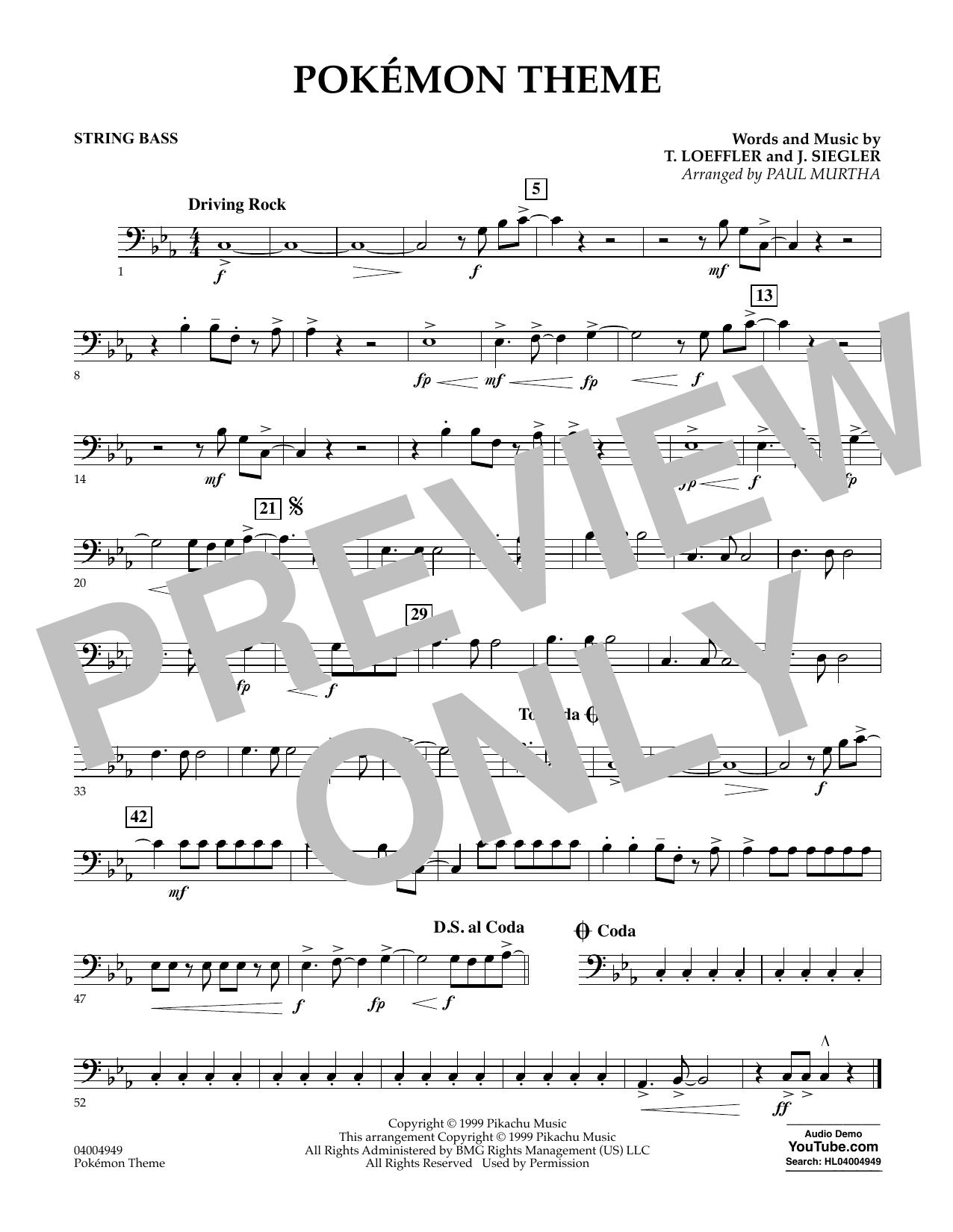 Pokemon Theme - Bass (Concert Band)