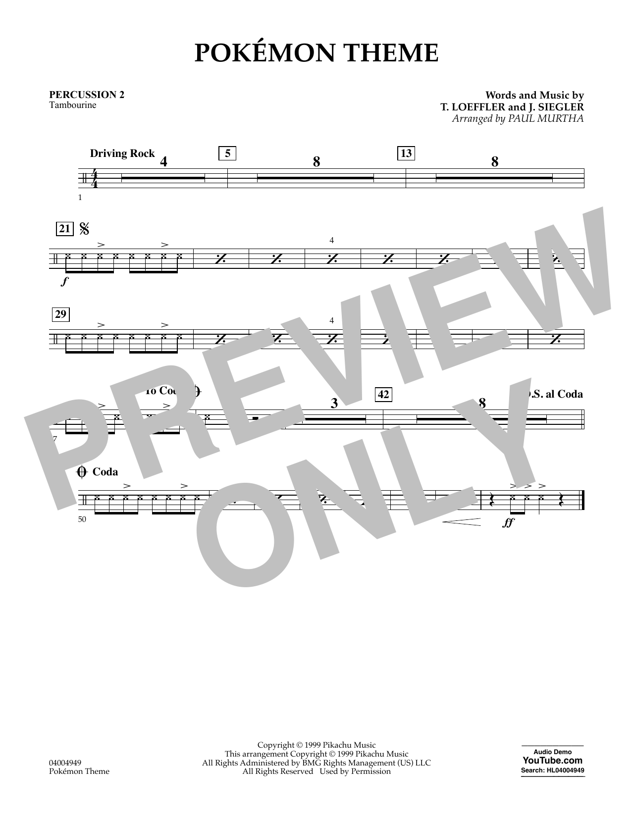 Pokemon Theme - Percussion 2 (Concert Band)