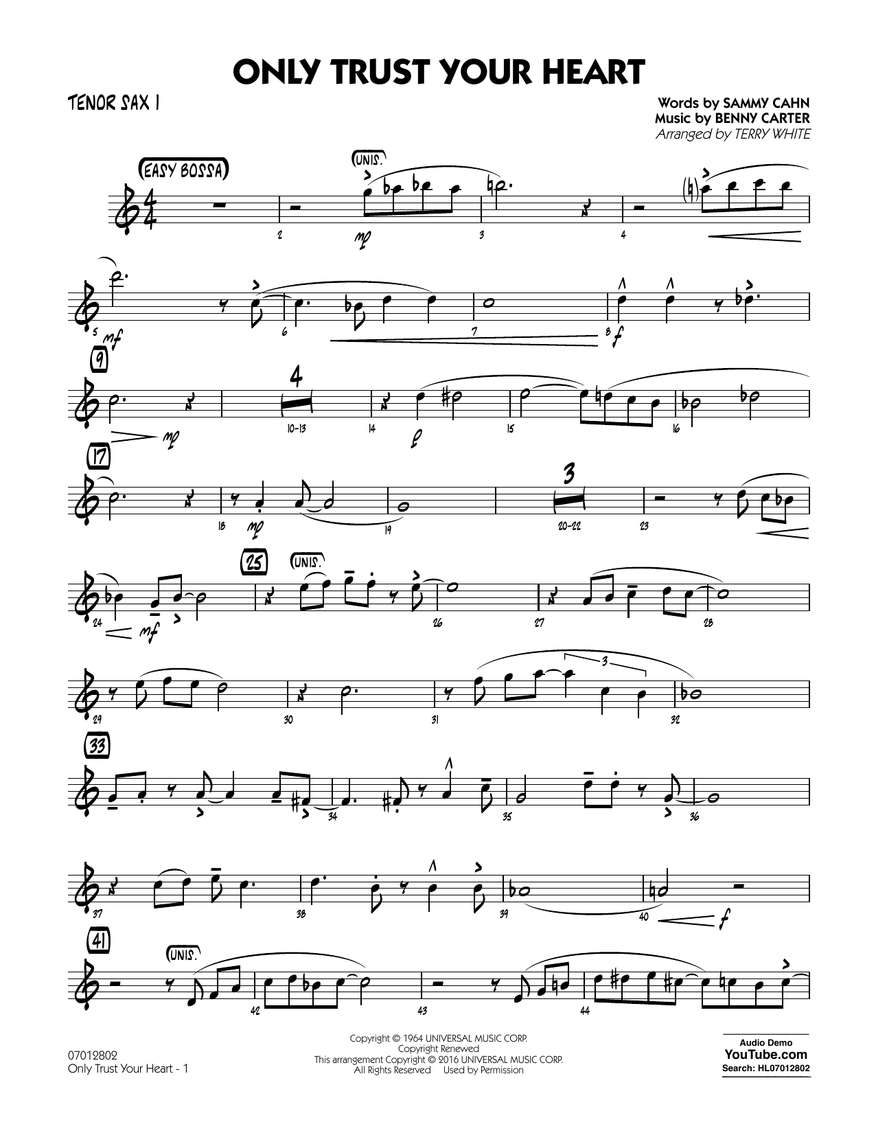 Only Trust Your Heart - Tenor Sax 1 (Jazz Ensemble)