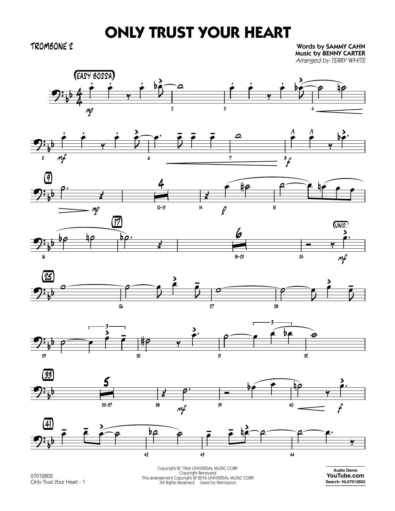 Only Trust Your Heart - Trombone 2 (Jazz Ensemble)