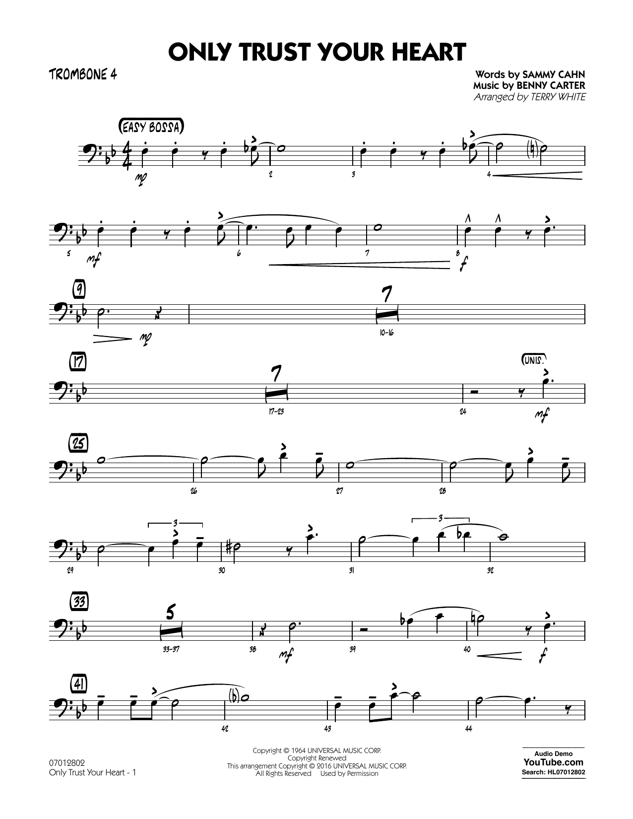 Only Trust Your Heart - Trombone 4 (Jazz Ensemble)